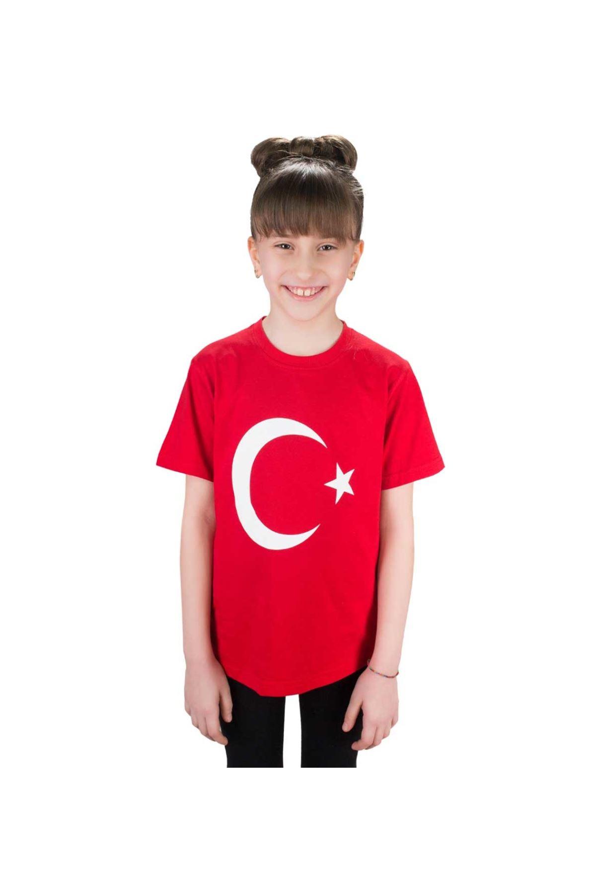 Kırmızı Bayrak Baskılı Çocuk Tişört