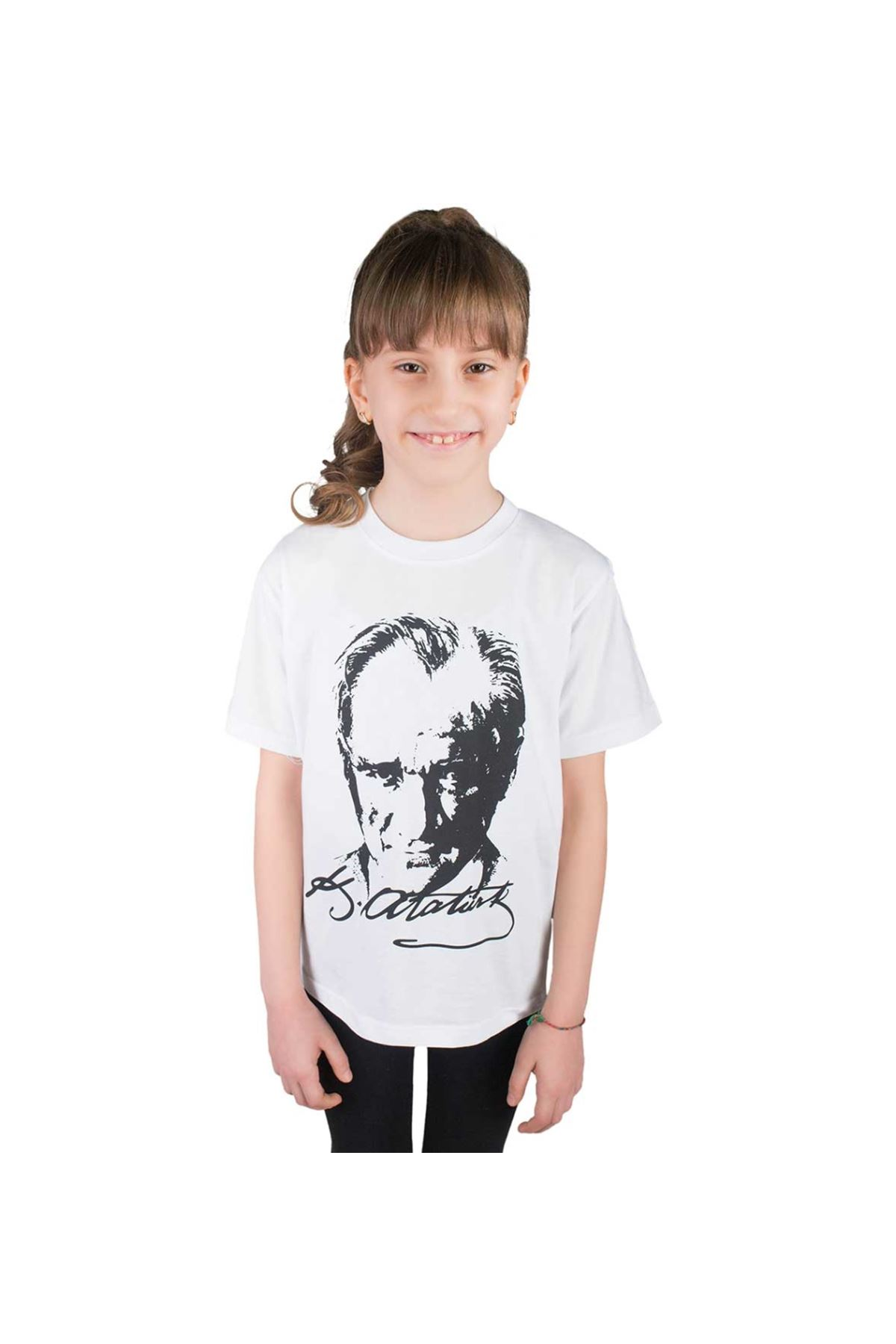 Beyaz Atatürk Baskılı Çocuk Pamuklu Tişört