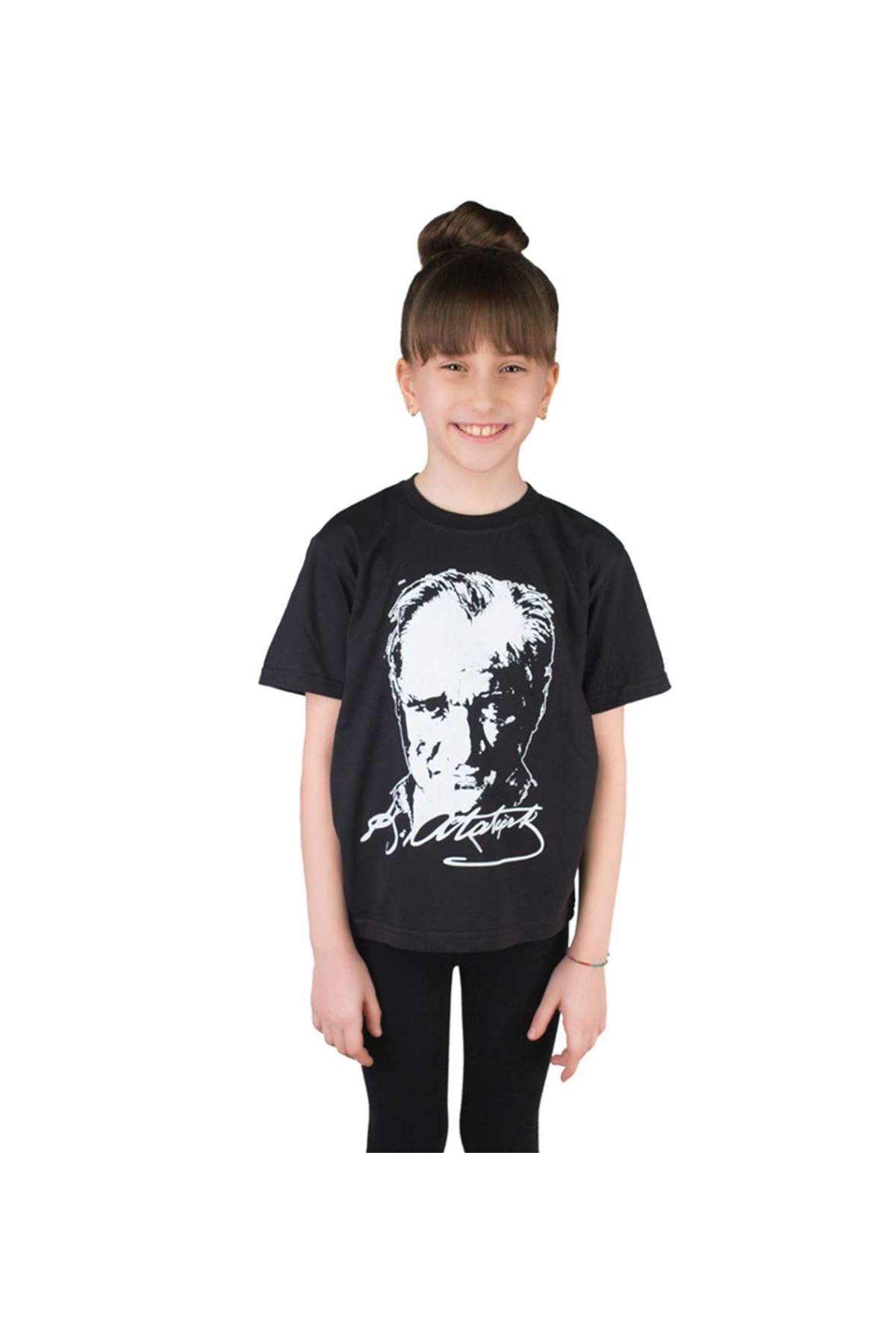Siyah Atatürk Baskılı Çocuk Pamuklu Tişört