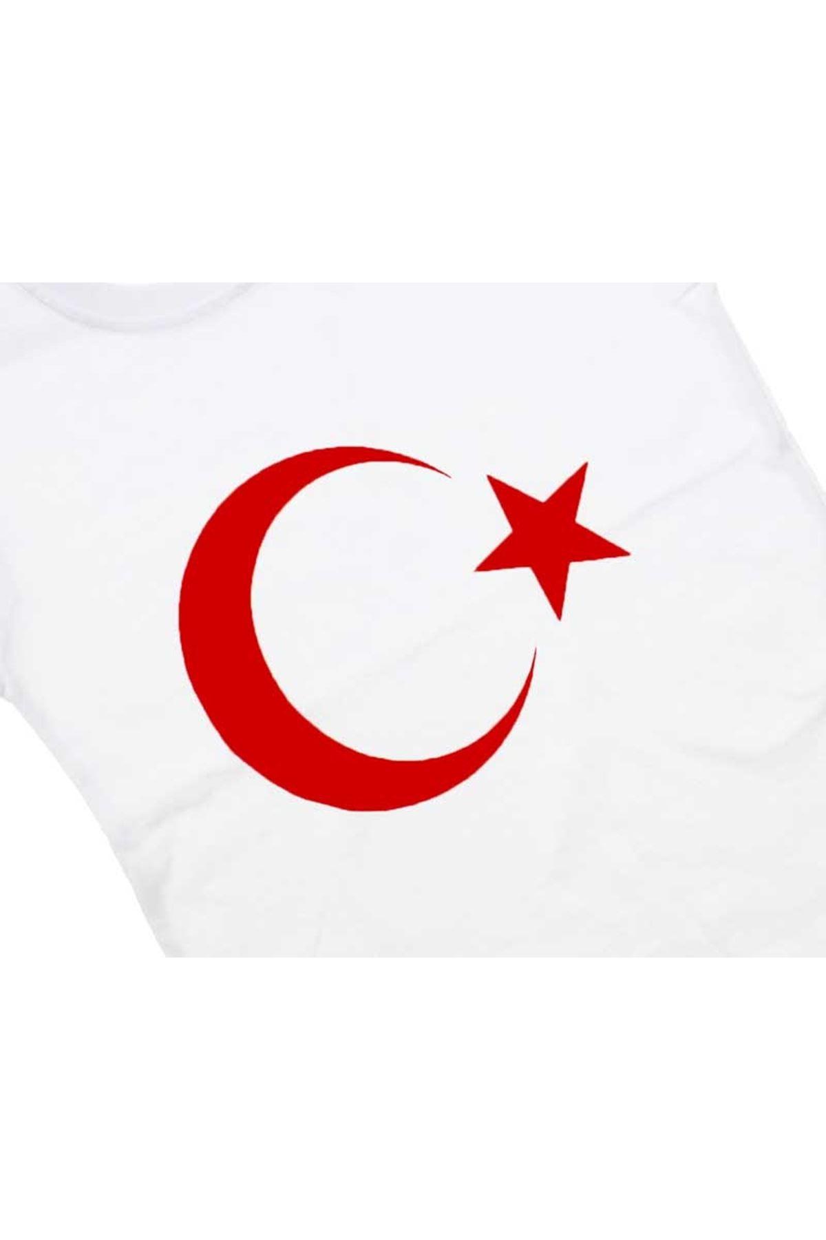 Beyaz Bayrak Baskılı S-M-L-XL Tişört