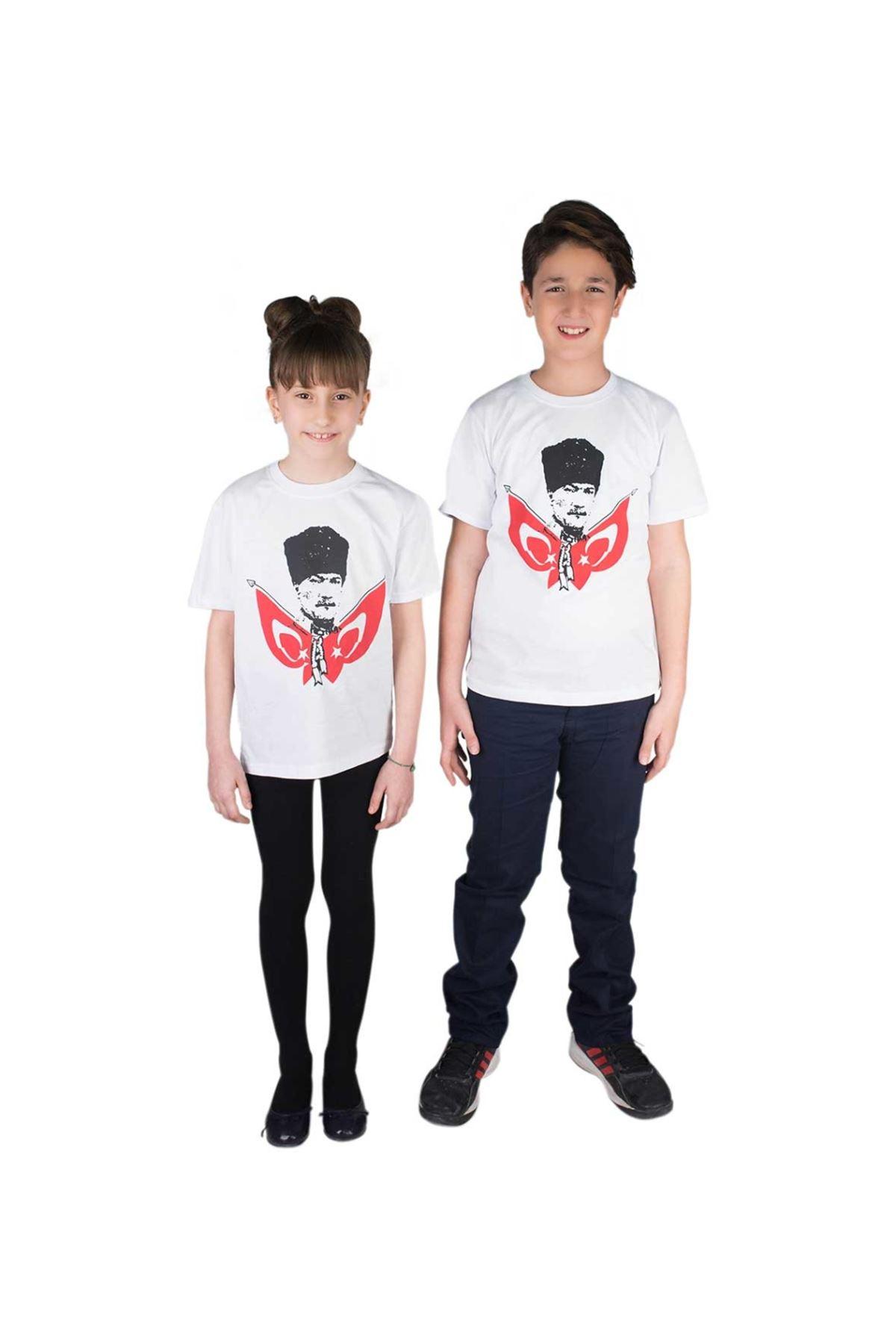 Beyaz Atatürk ve Bayrak Baskılı Pamuklu Tişört