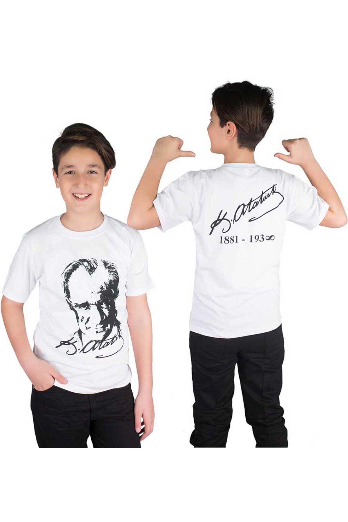 Beyaz Arkası Atatürk İmzalı Atatürk Baskılı Çocuk Tişört