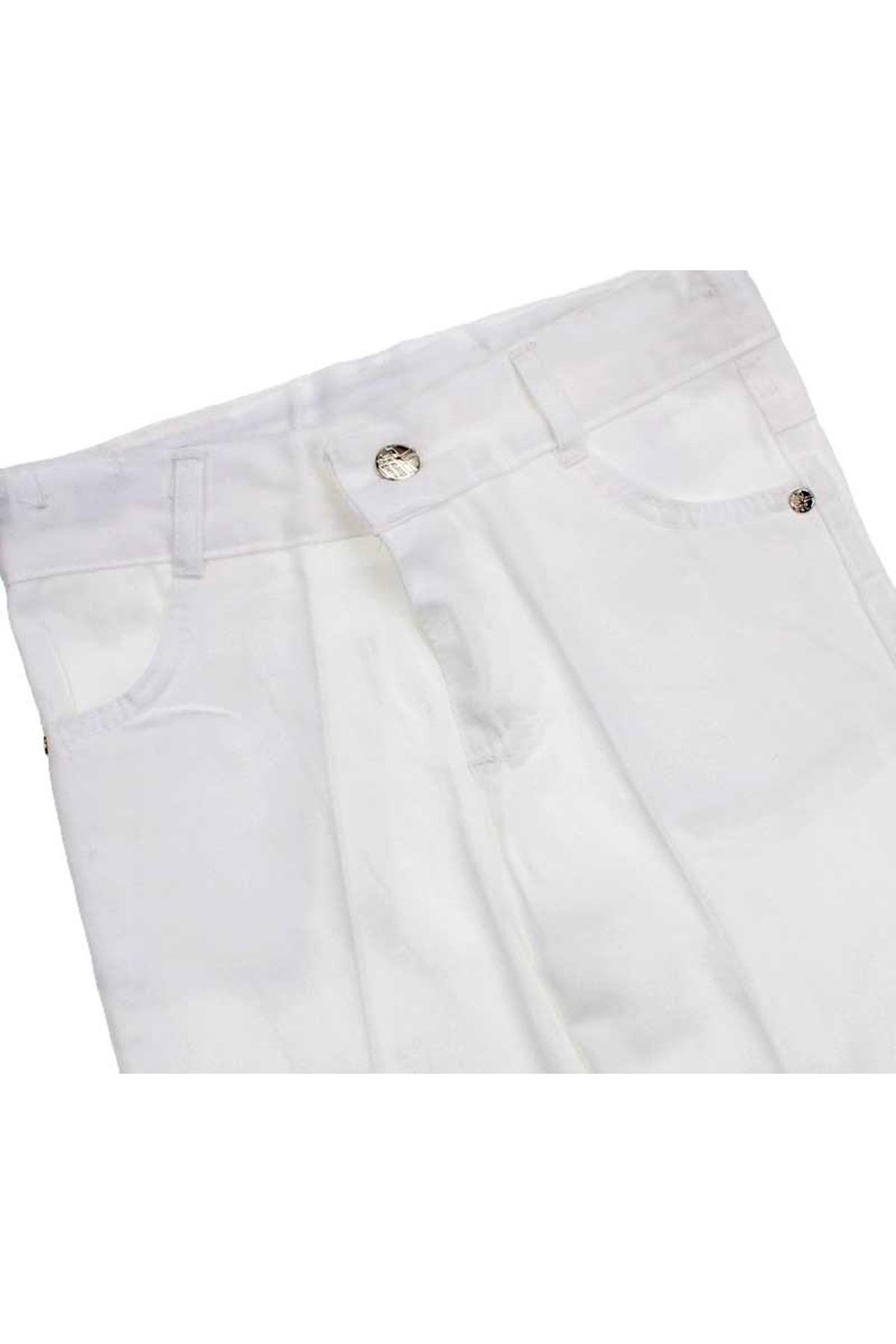 Beyaz Erkek Çocuk Keten Pantalon