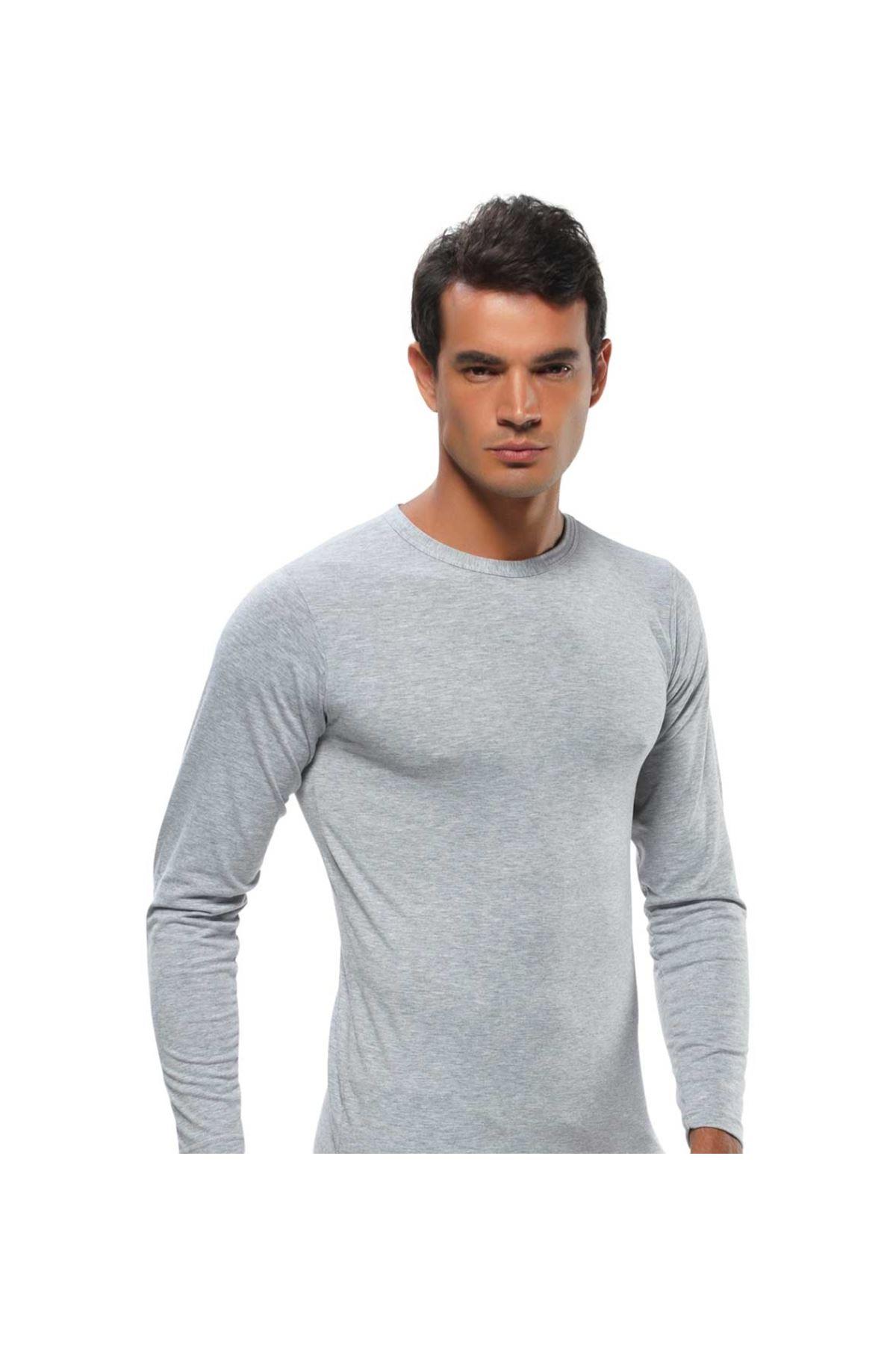 Gümüş İç Giyim Likralı Uzun Kol Erkek Fanila