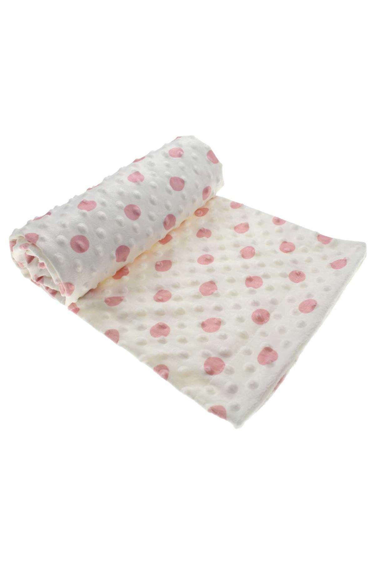Pembe Kız Bebek Puantiyeli Fluffy Battaniye