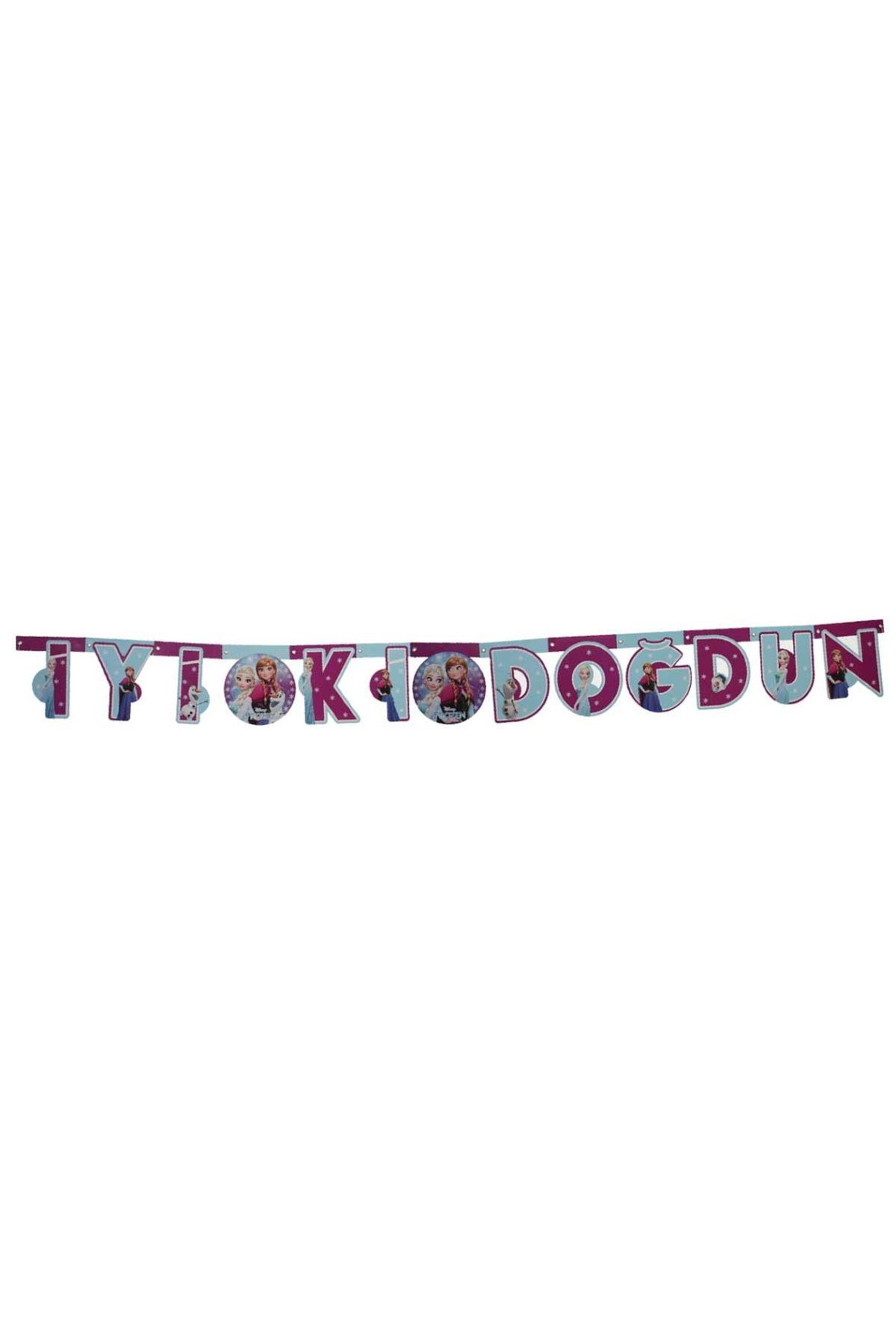 Frozen Lisanslı 'İyiki Doğdun' Yazılı Oynar Banner