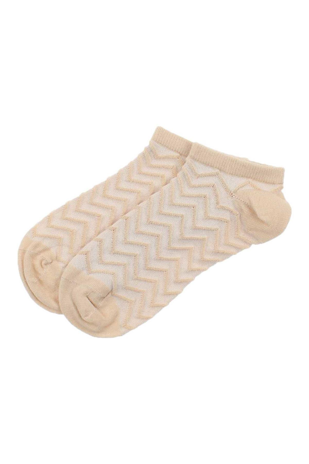 ByJawalli Kadın Kahve Desenli Parfümlü Patik Çorap 065-491-033