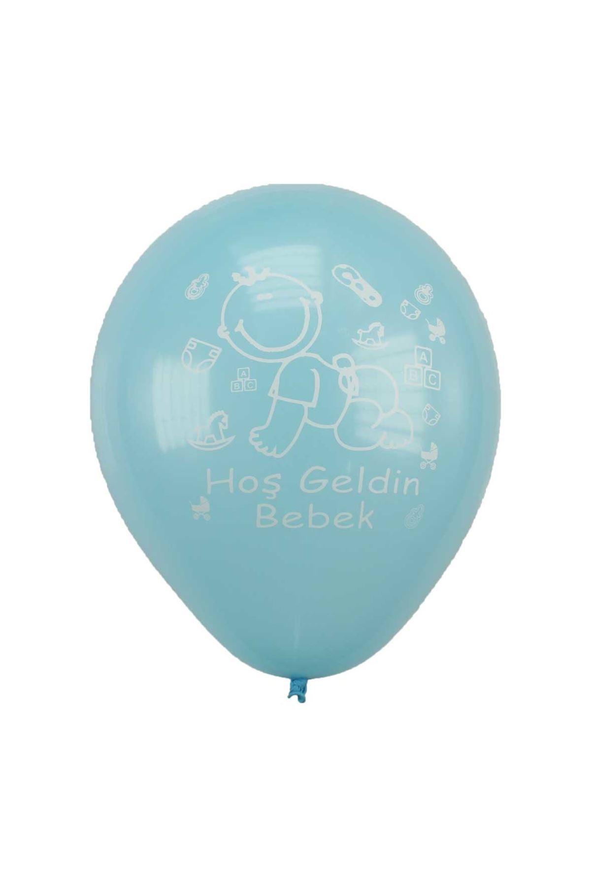 Mavi Hoşgeldin Bebek Yazılı Balon