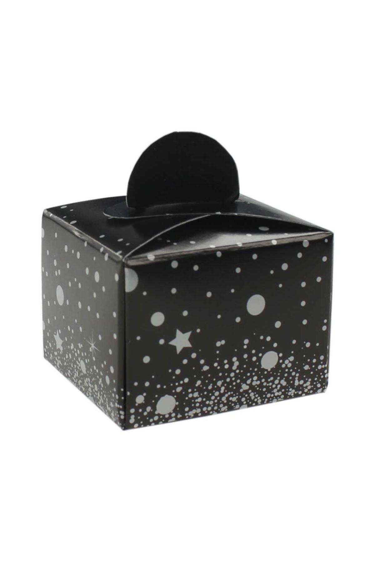 Siyah Üzerine Gri Puanlı Yıldızlı Lokum Şeker Kutusu