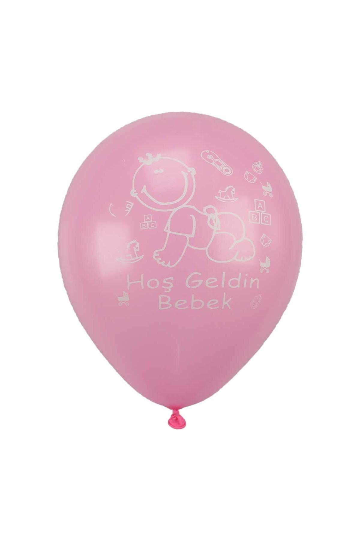 Pembe Hoşgeldin Bebek Yazılı Balon