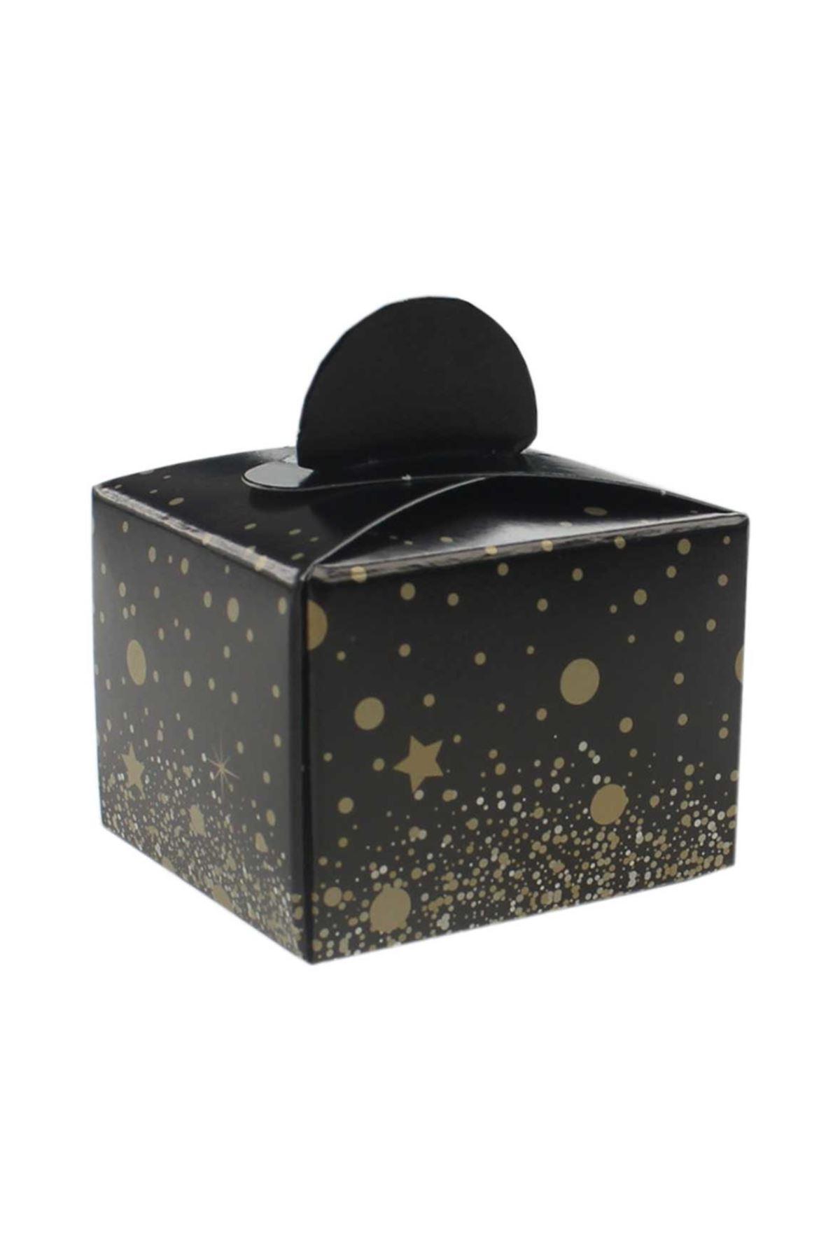 Siyah Üzerine Sarı Puanlı Yıldızlı Lokum Şeker Kutusu