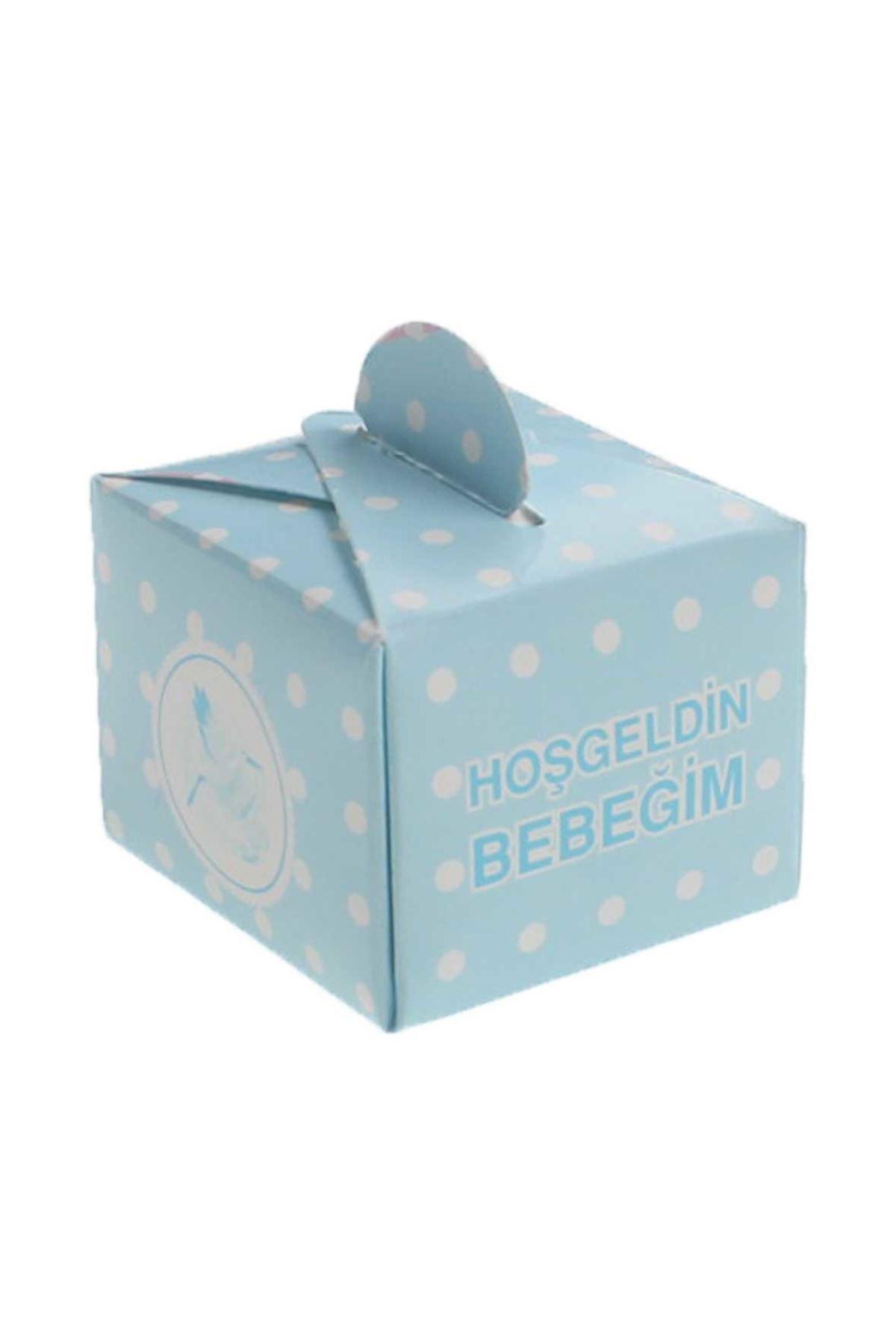 Mavi Hoşgeldin Bebeğim Lokum Şeker Kutusu