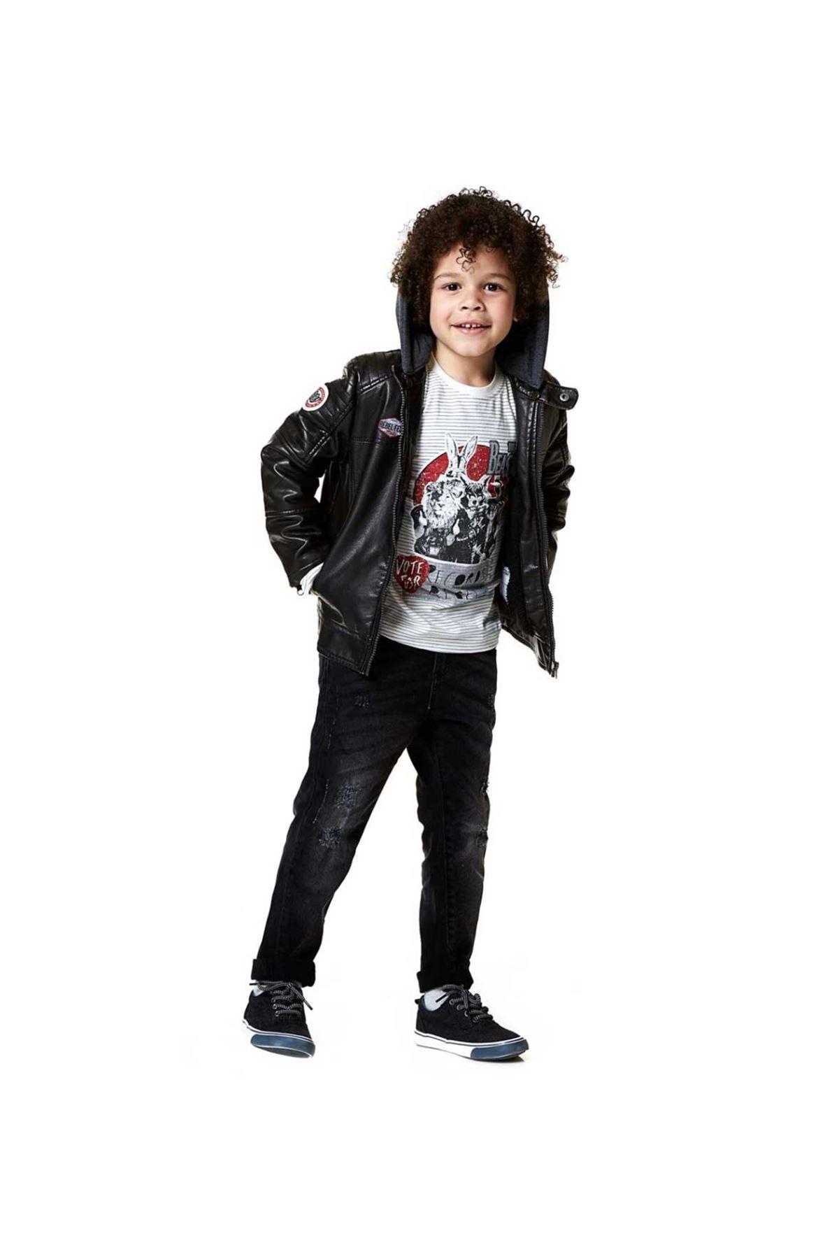 Losan Erkek Çocuk Kapşonlu Suni Deri Ceket 057-8252001-038