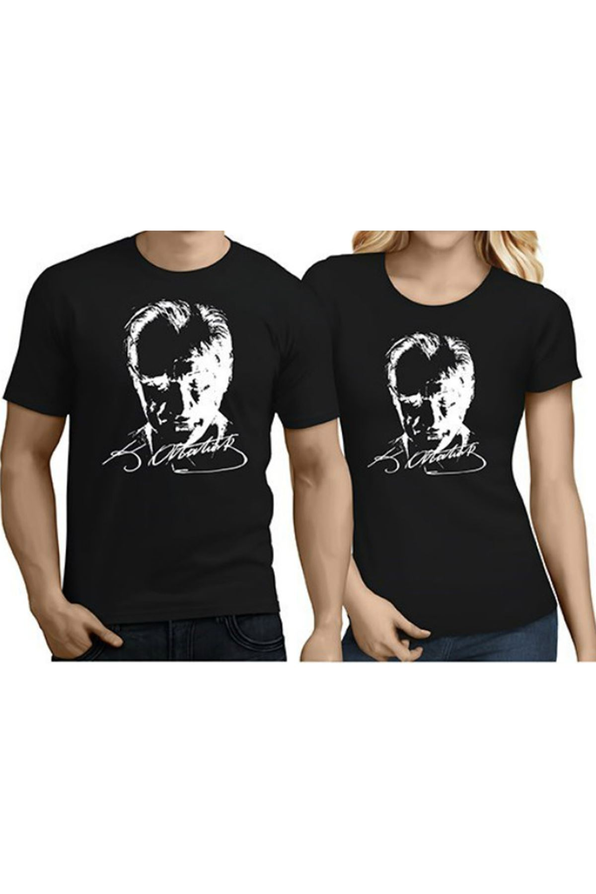 Siyah XS-S-M-L-XL Atatürk Baskılı Pamuklu Tişört