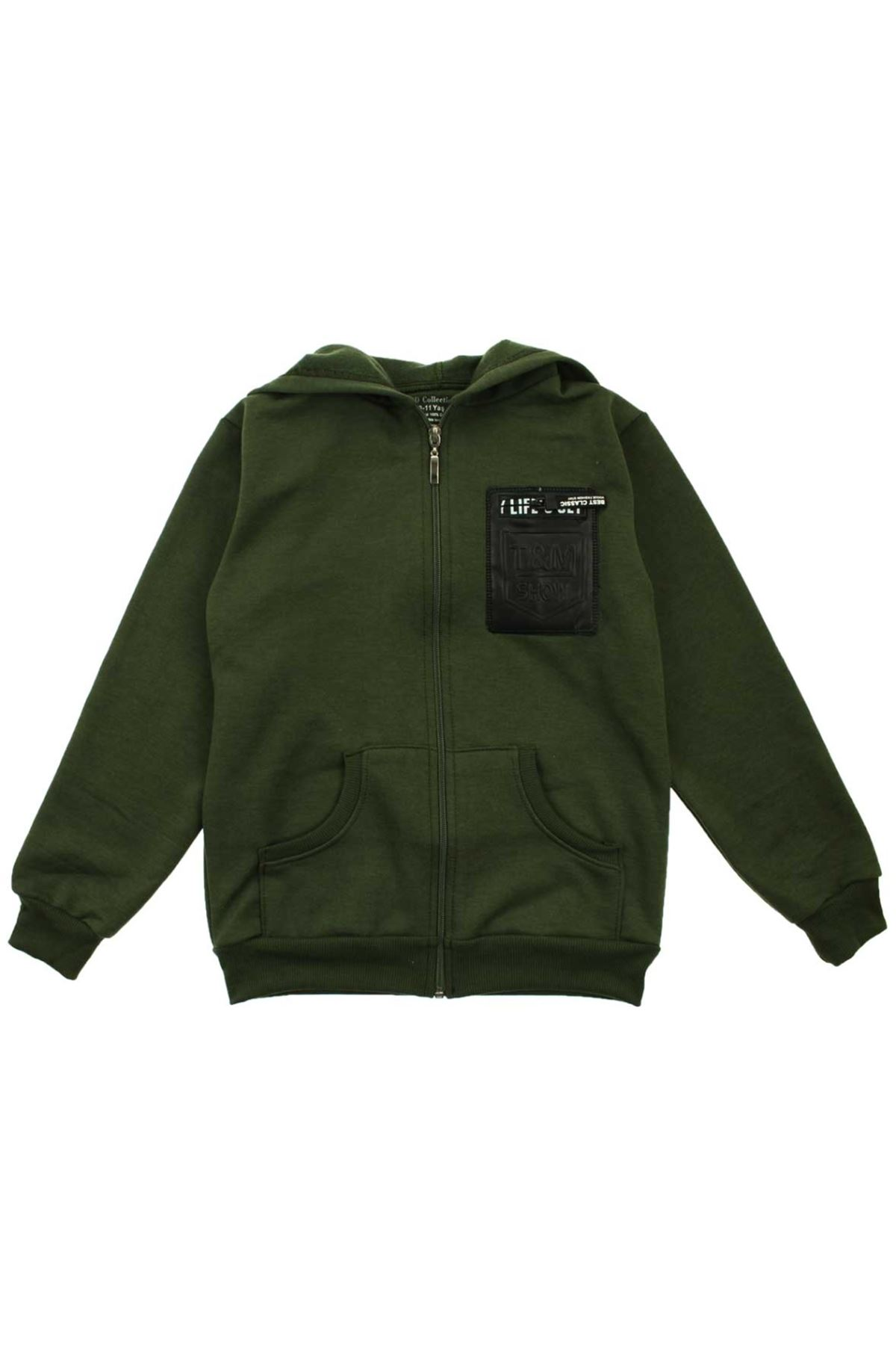 Koyu Yeşil Erkek Çocuk Kapşonlu Kışlık Sweat
