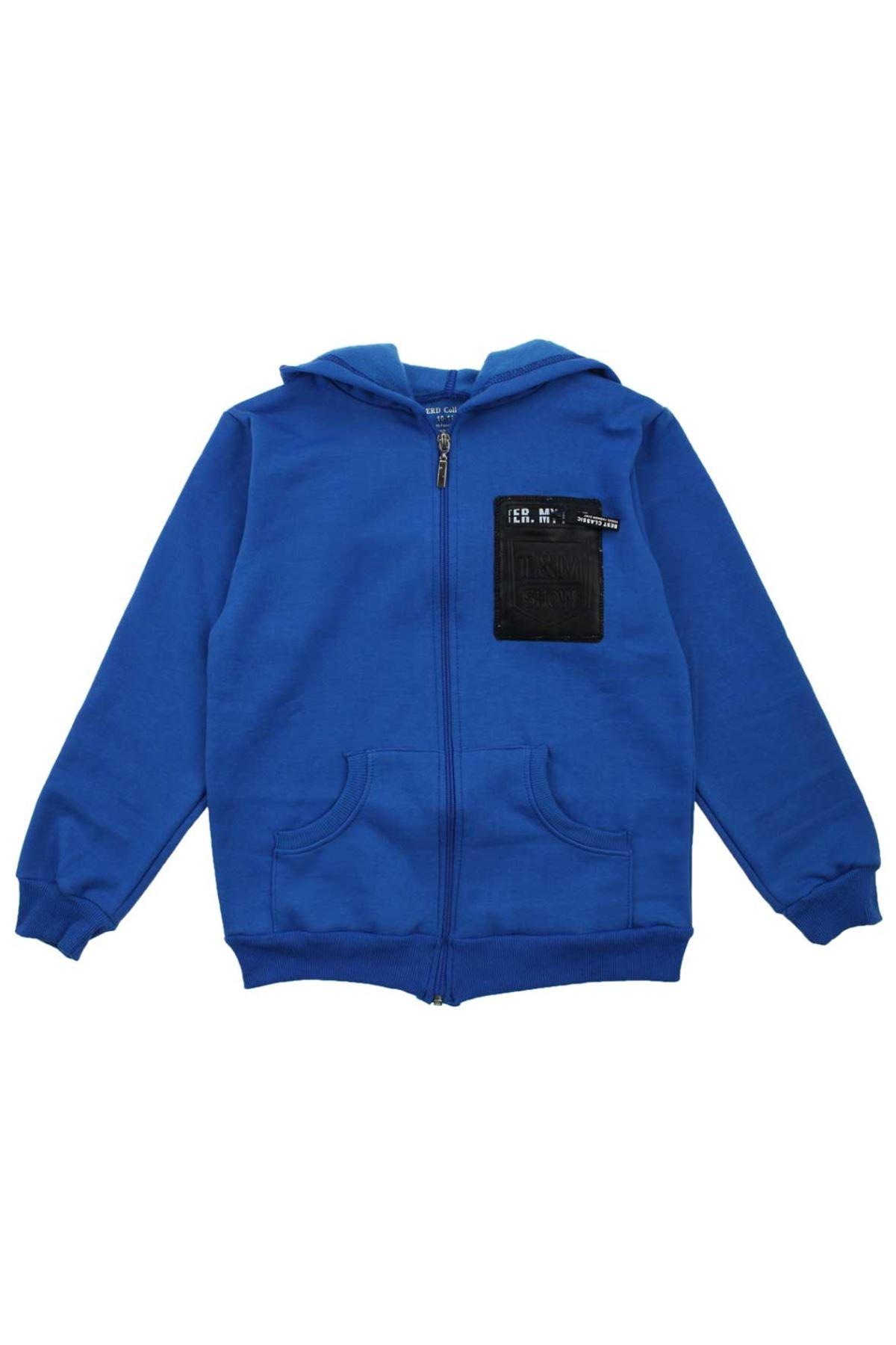 Mavi Erkek Çocuk Kapşonlu Kışlık Sweat