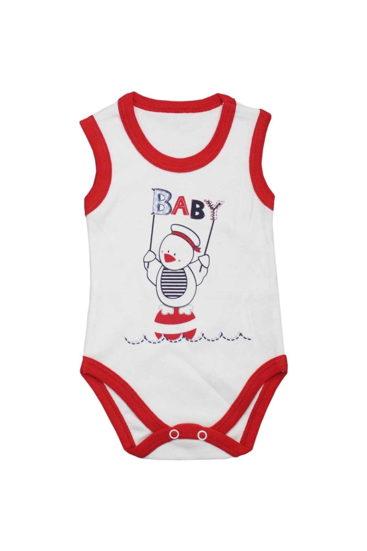 Modakids Unisex Bebek Baby Baskılı Çıtçıtlı Badi