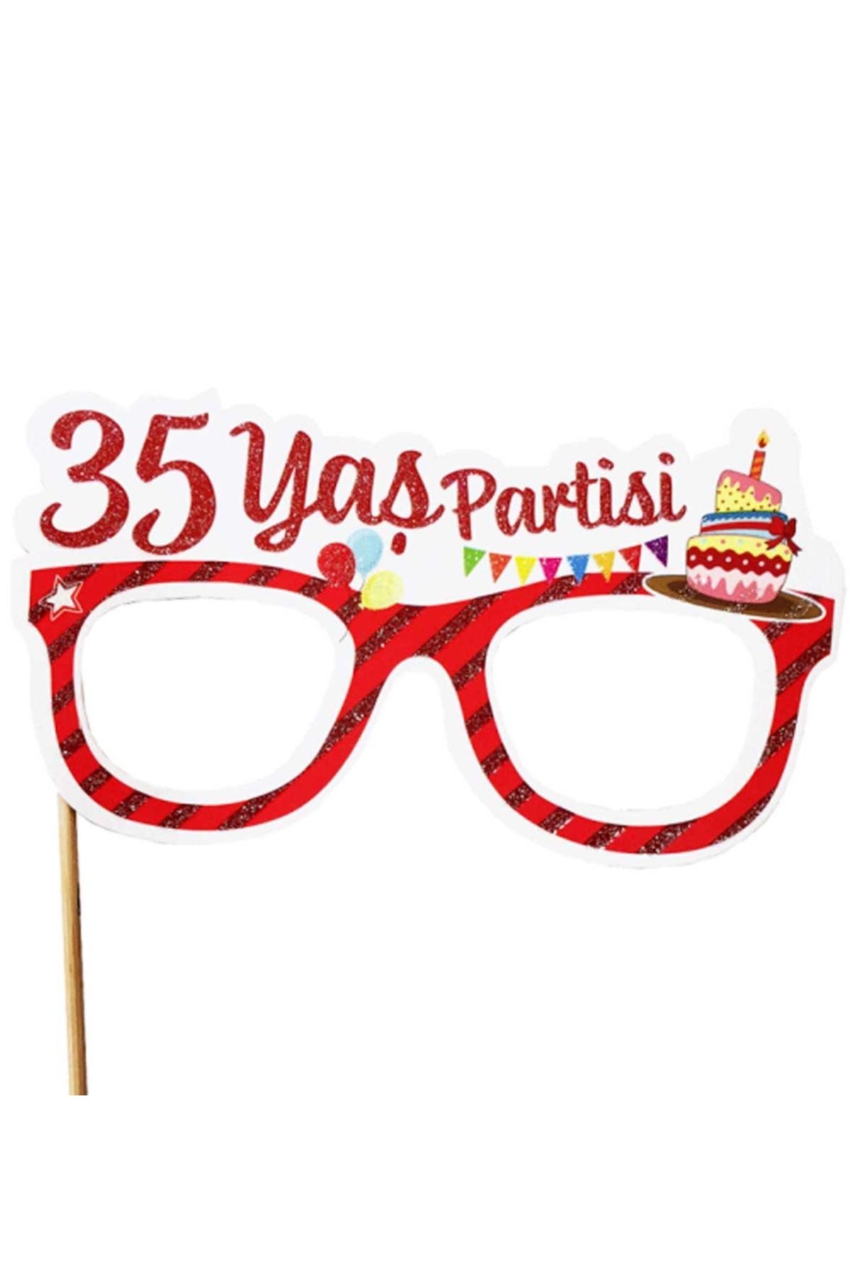 35 Yaş Partisi Gözlük Konuşma Balonu