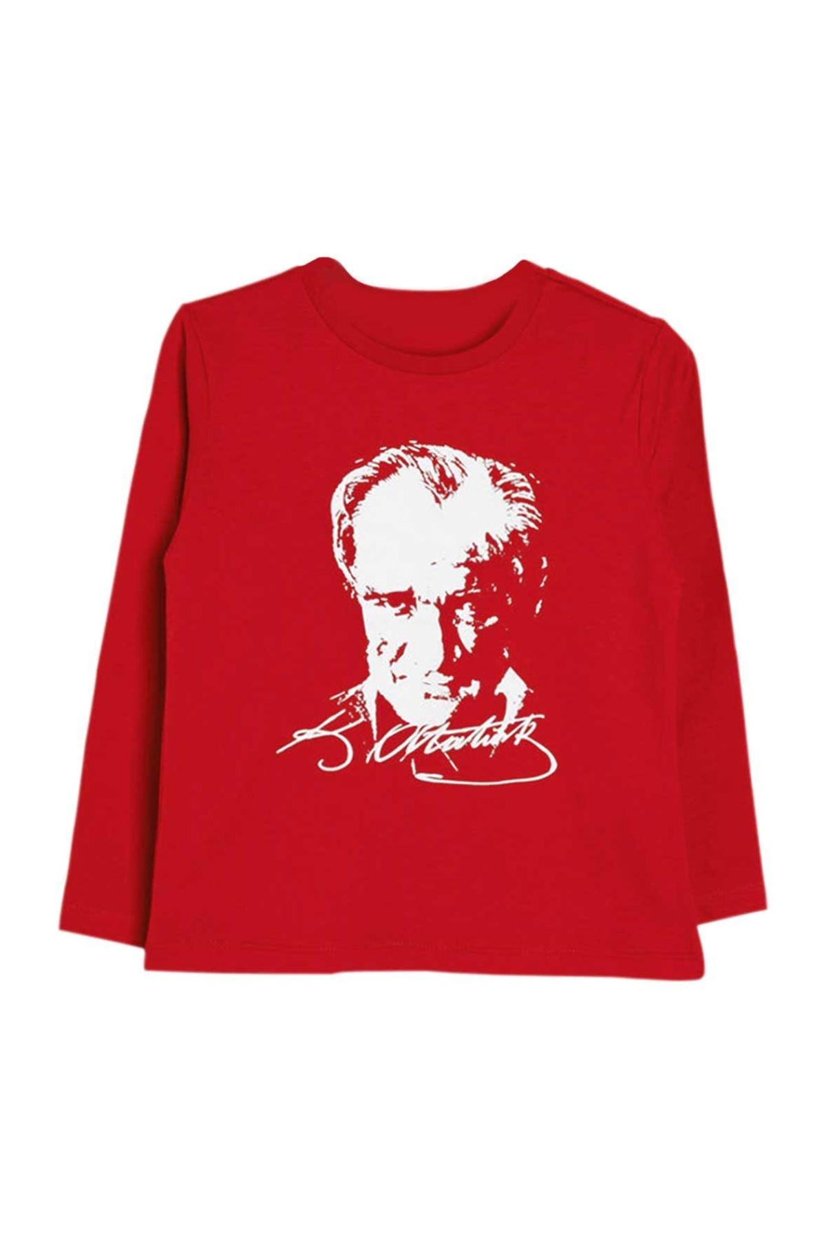 Kırmızı Atatürk Baskılı Uzun Kollu Pamuklu Tişört