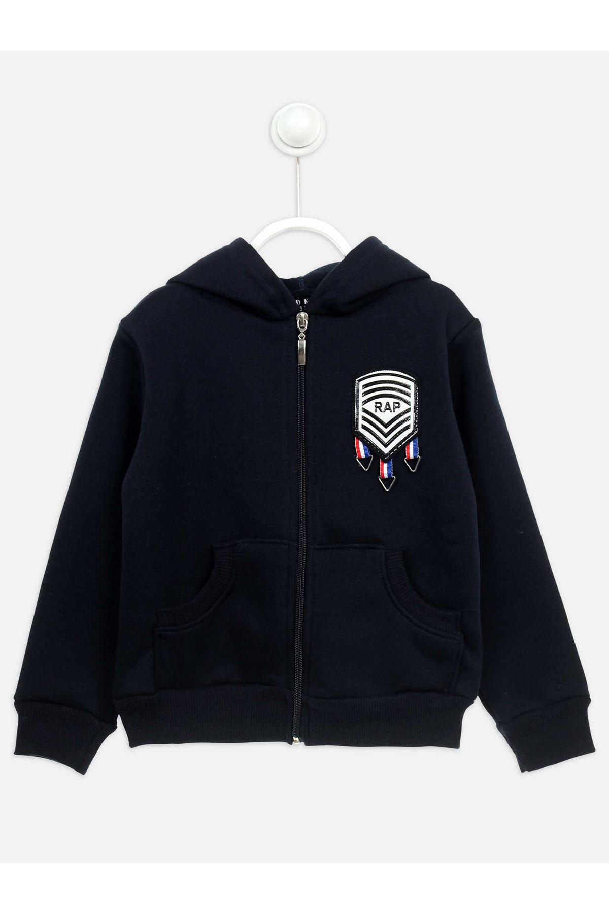 Siyah Kışlık Kapüşonlu Erkek Çocuk Ceket