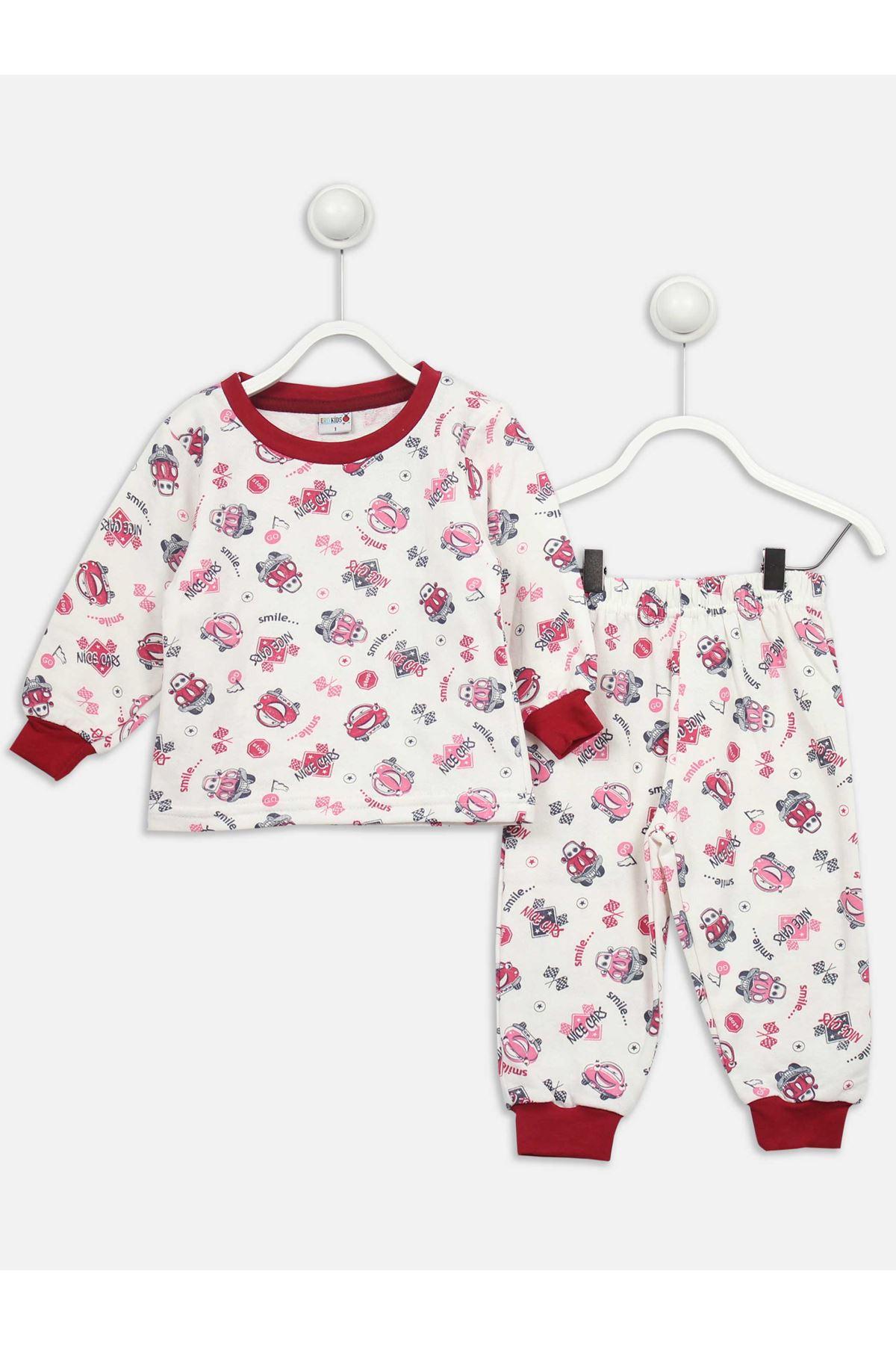 Beyaz Araba Desenli Kız Çocuk Pijama Takımı