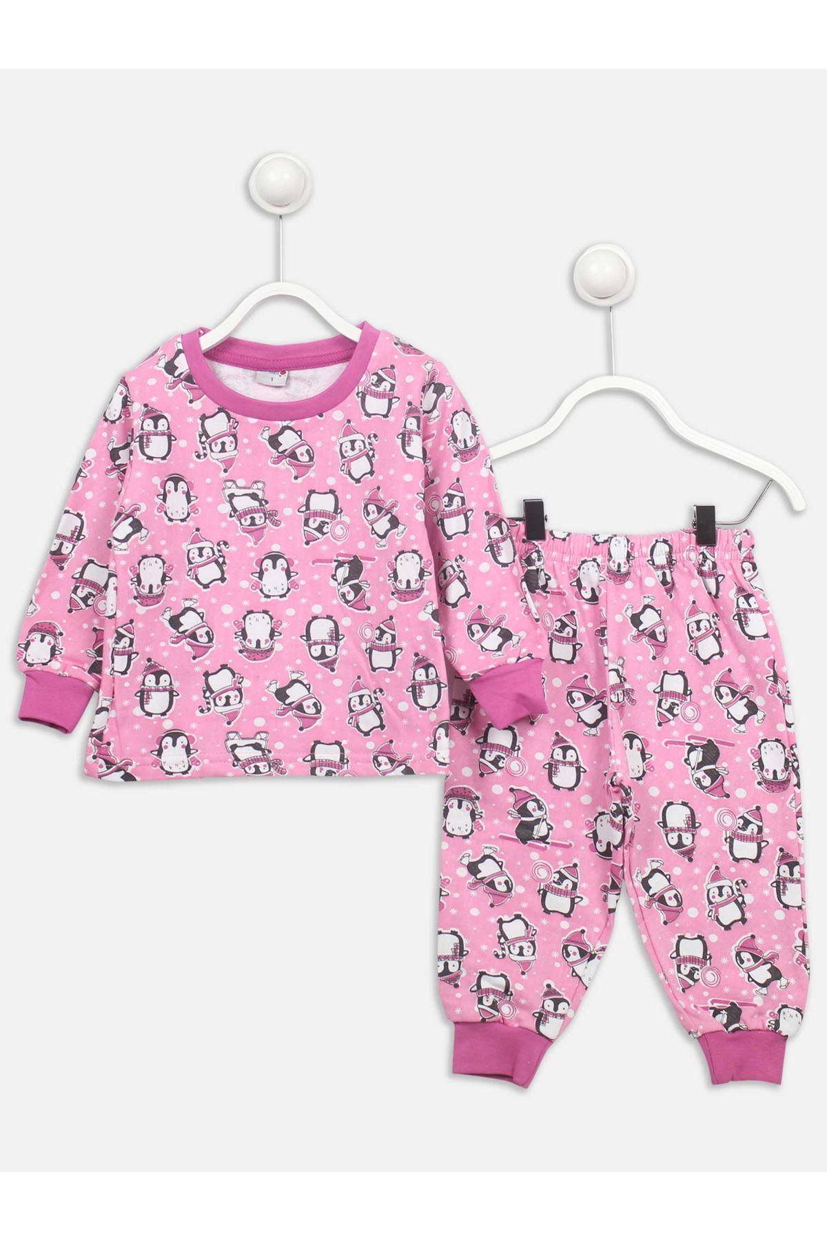 Pembe Penguen Desenli Kız Çocuk Pijama Takımı