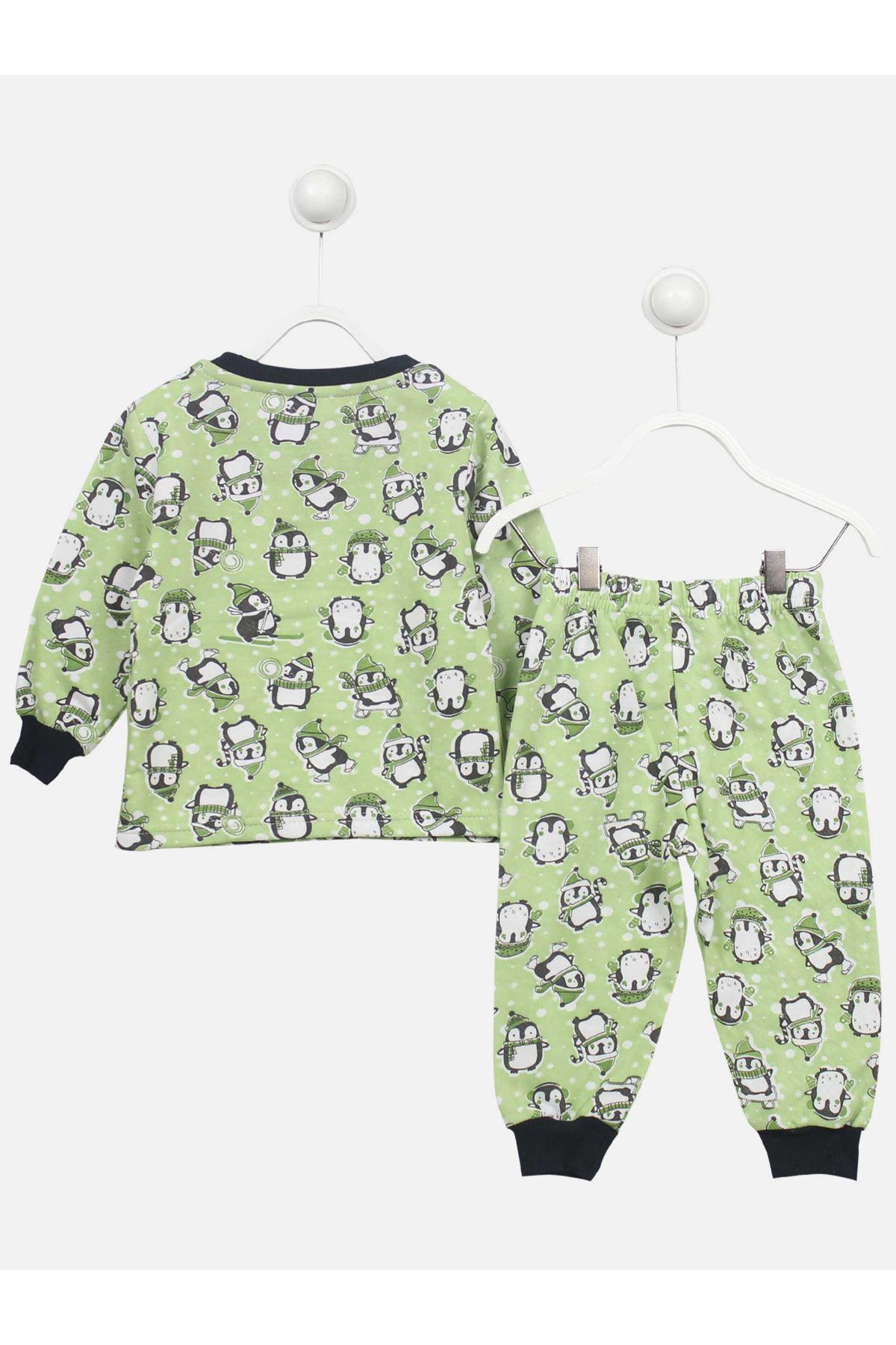 Yeşil Penguen Desenli Çocuk Pijama Takımı