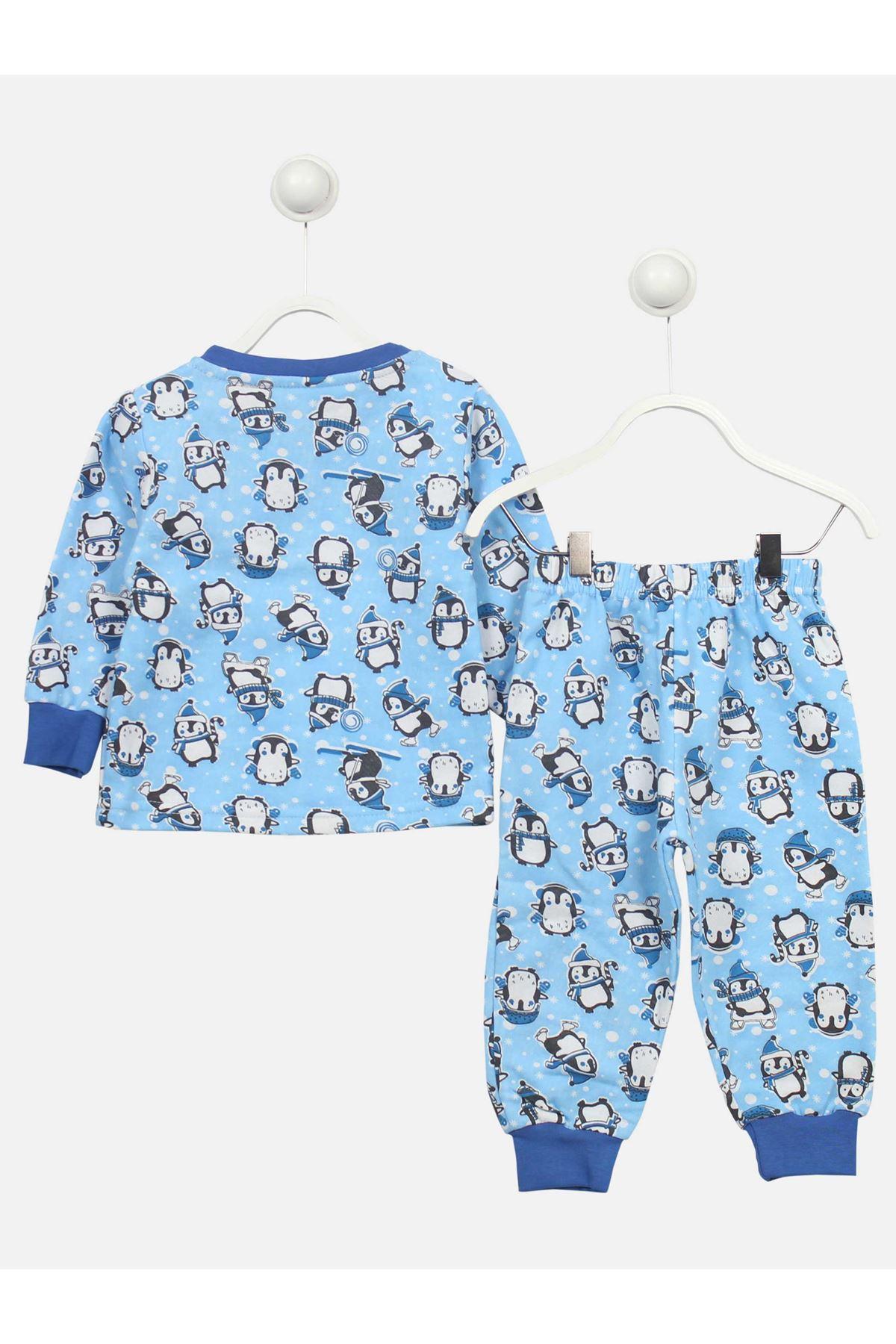 Mavi Penguen Desenli Erkek Çocuk Pijama Takımı