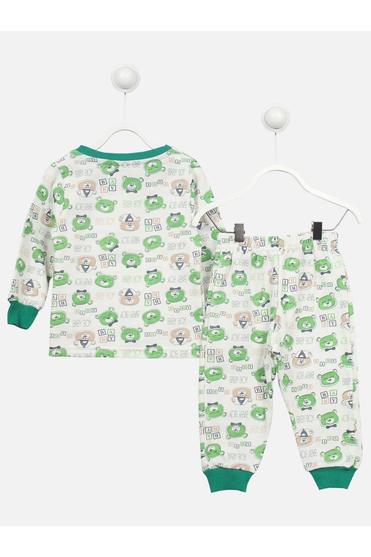 Yeşil Ayı Desenli Çocuk Pijama Takımı