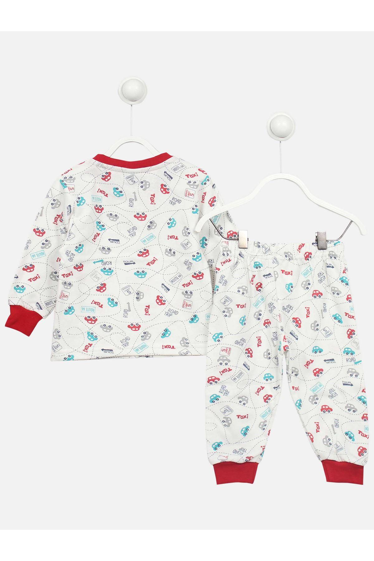 Beyaz Araba Desenli Erkek Çocuk Pijama Takımı
