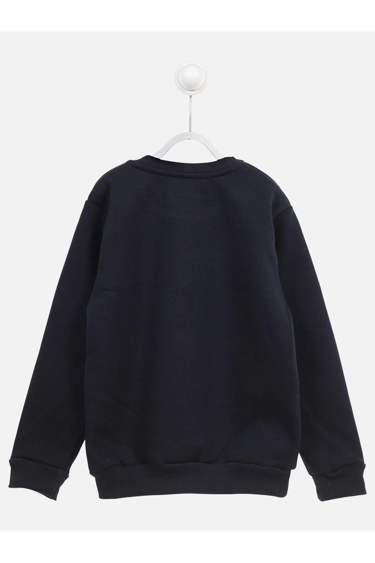 Koyu Lacivert Kışlık Erkek Çocuk Sweatshirt