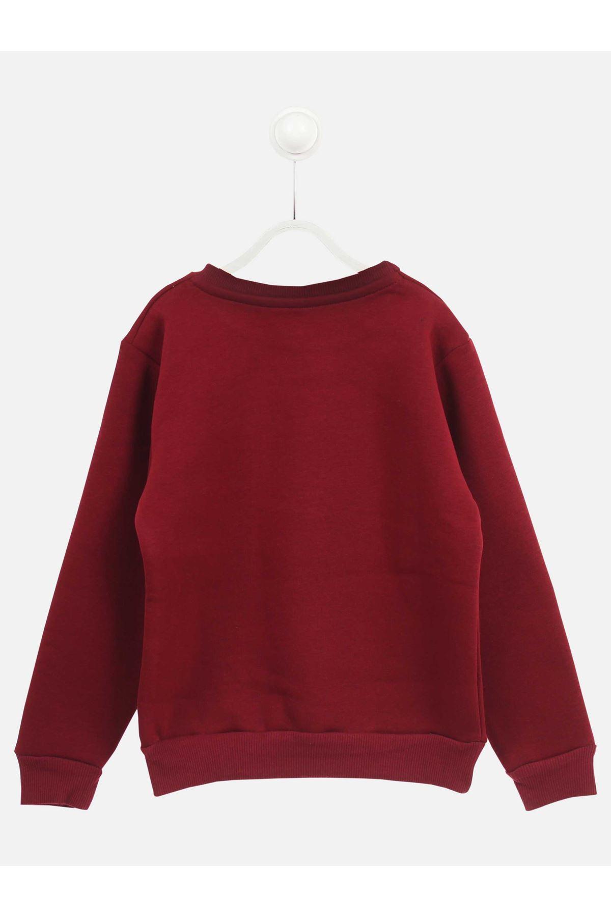 Bordo Kışlık Erkek Çocuk Sweatshirt