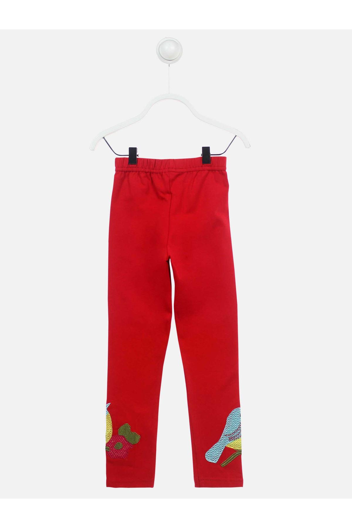 Kırmızı Mevsimlik Kız Çocuk Tayt