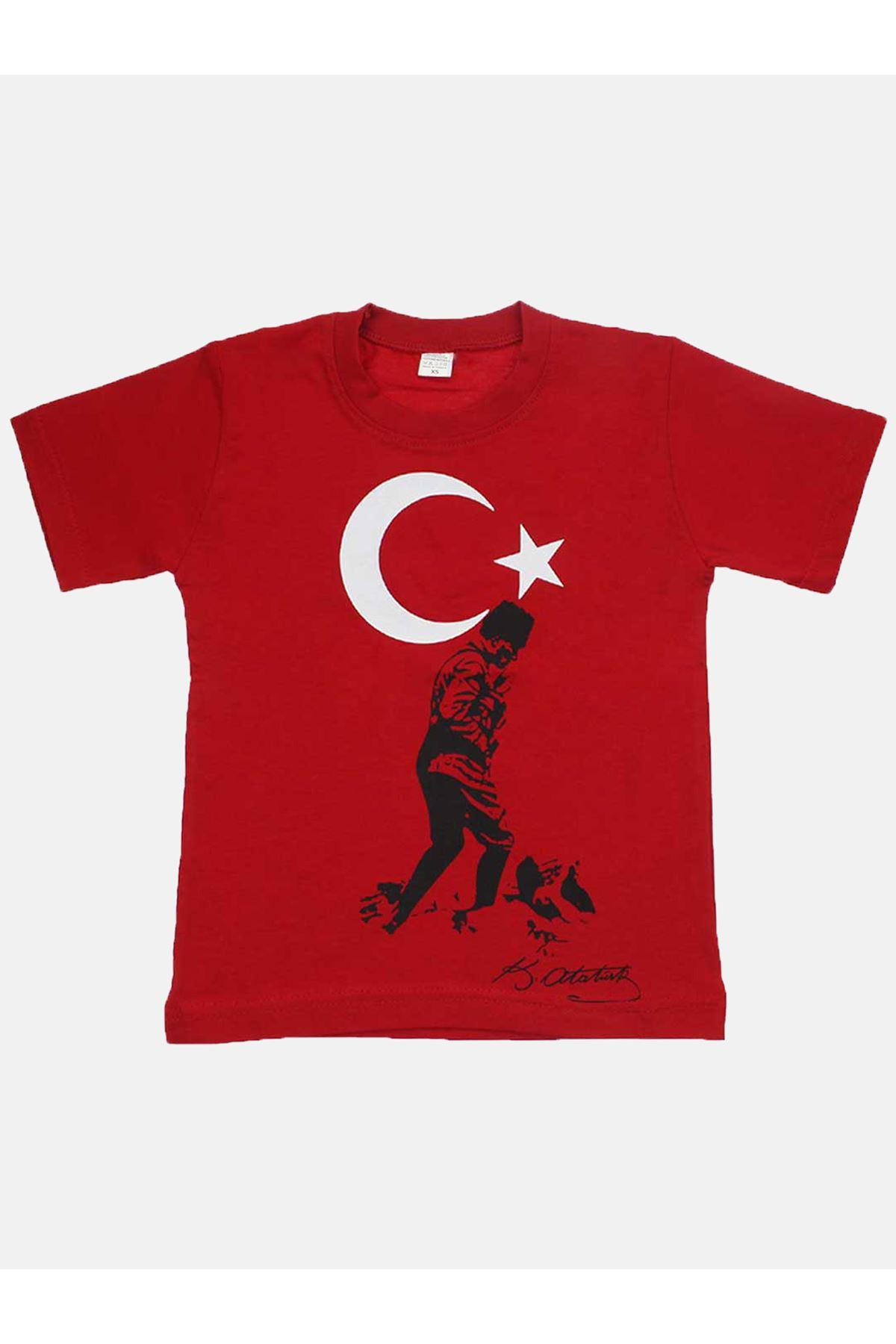 Kırmızı Bay Bayan Bayrak ve Atatürk Basklı Tişört
