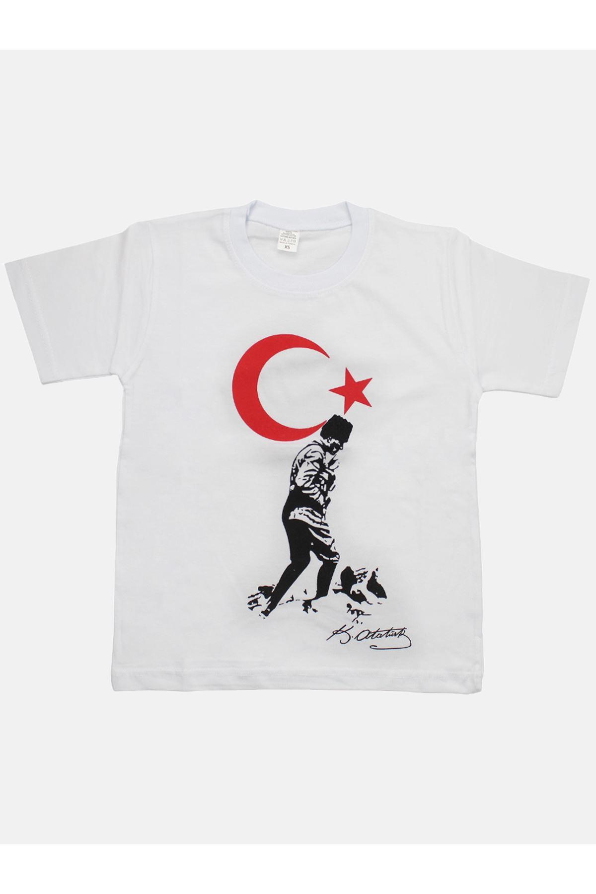 Beyaz Bay Bayan Bayrak ve Atatürk Baskılı Tişört