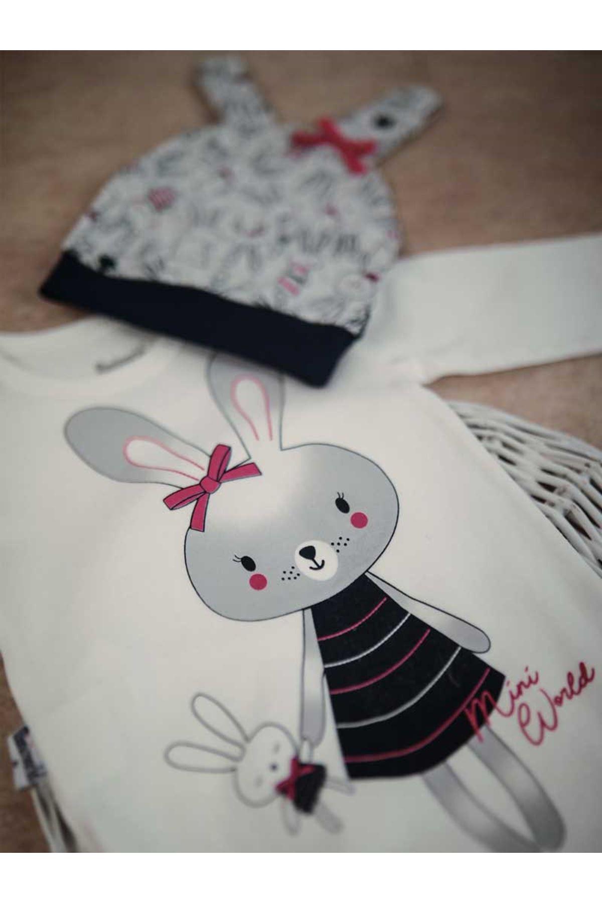 Gri  Tavşanlı 3 lü Kız Bebek Takım