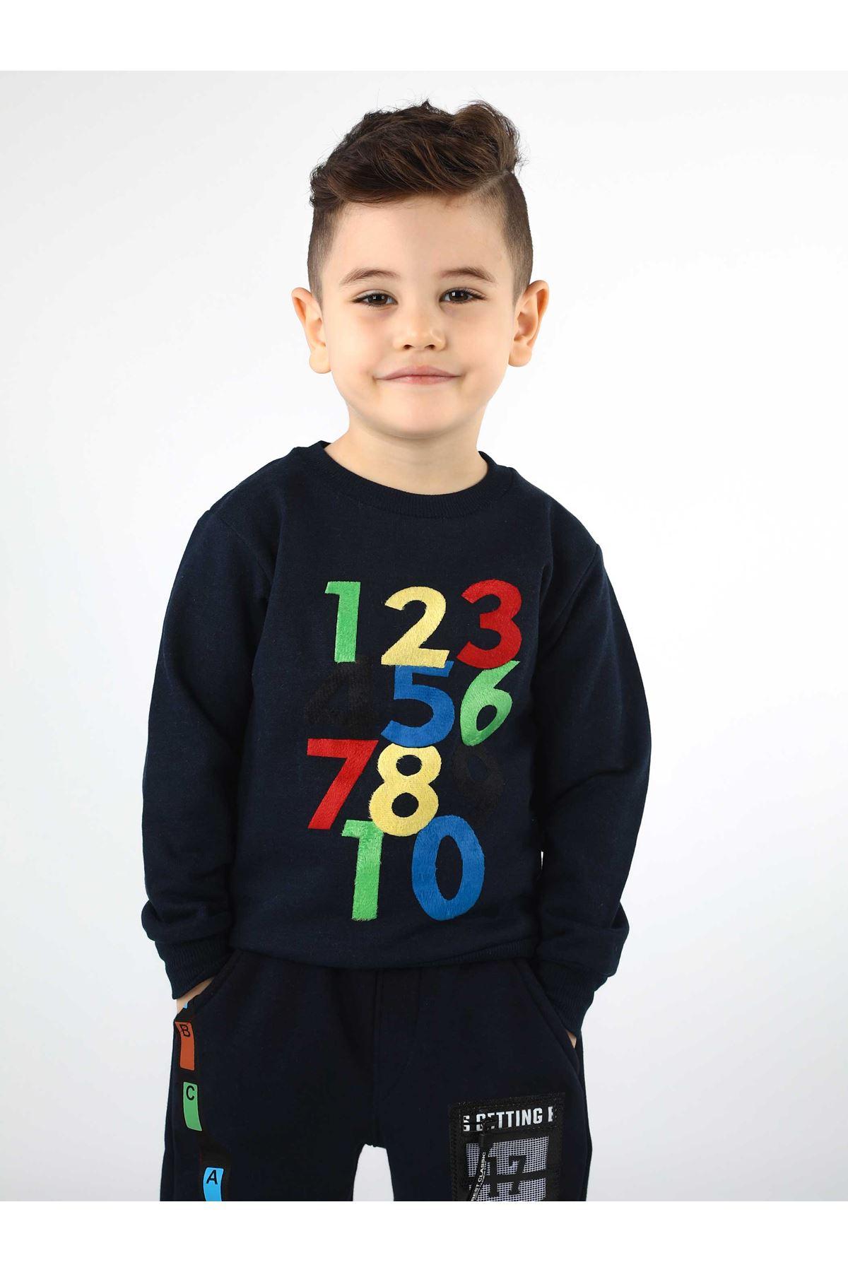 Koyu Lacivert Mevsimlik Erkek Çocuk Sweatshirt