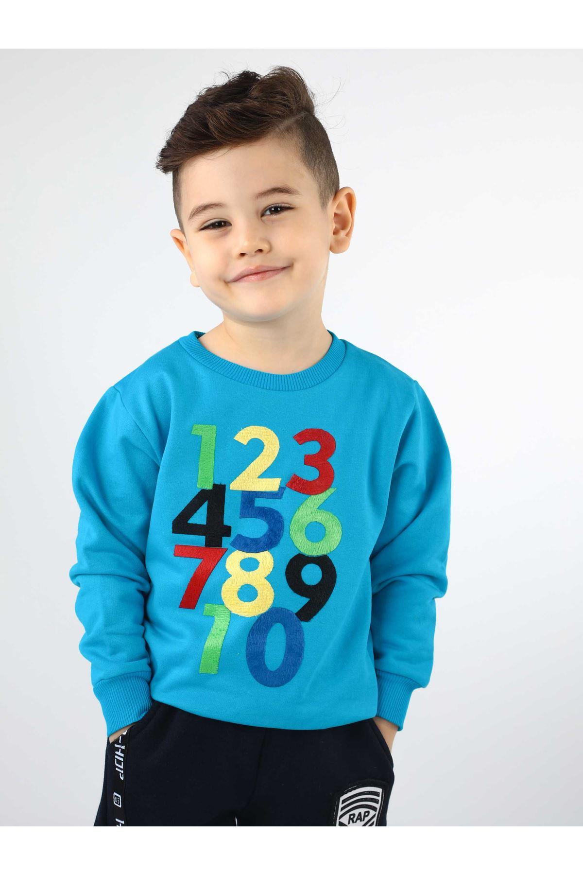 Turkuaz Mevsimlik Erkek Çocuk Sweatshirt