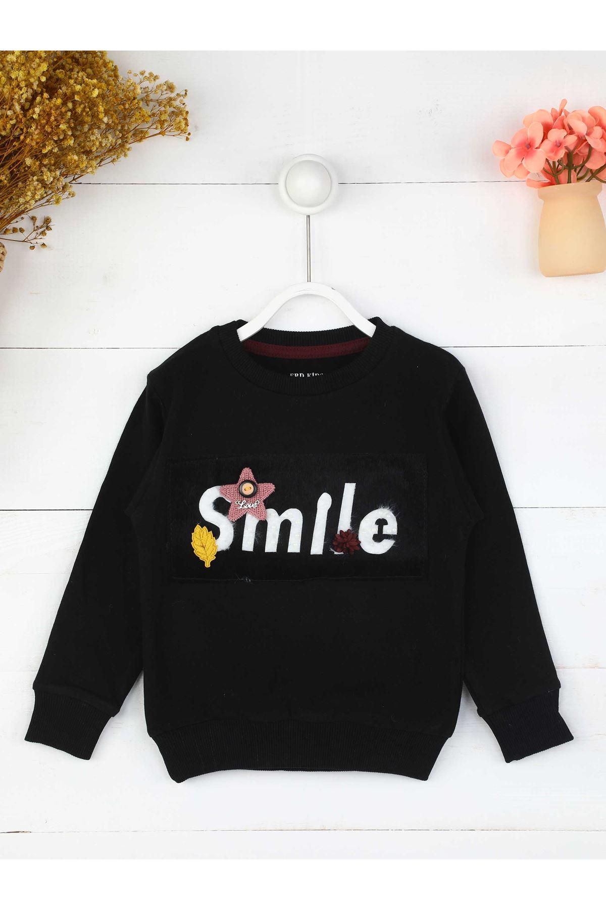Siyah Mevsimlik Kız Çocuk Sweatshirt