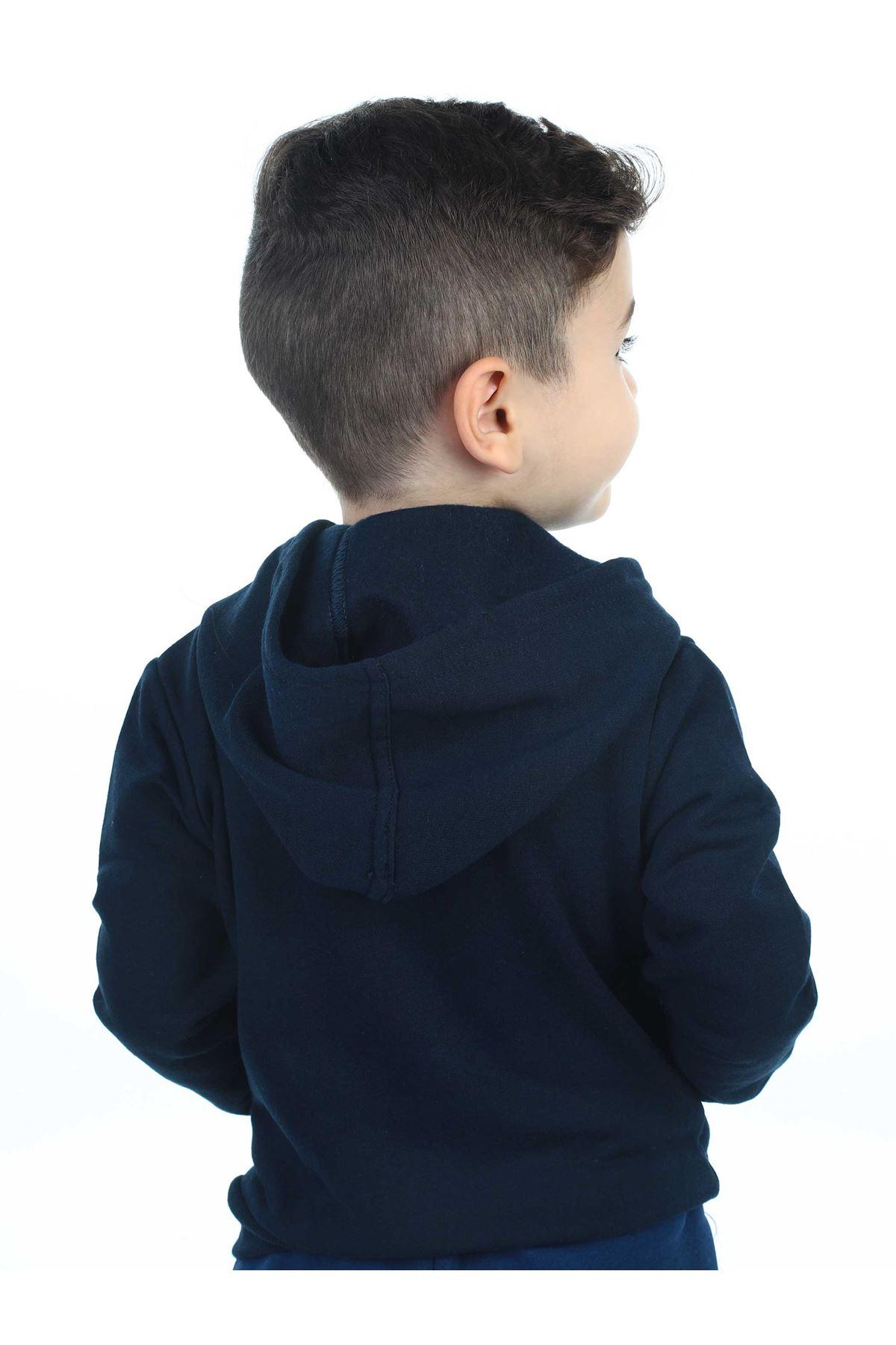 Lacivert Mevsimlik Kapüşonlu Erkek Çocuk Ceket