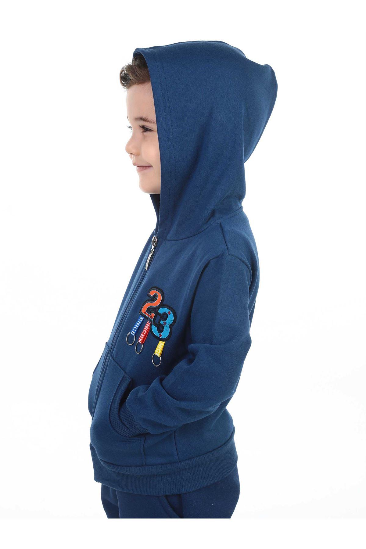 İndigo Mevsimlik Kapüşonlu Erkek Çocuk Ceket
