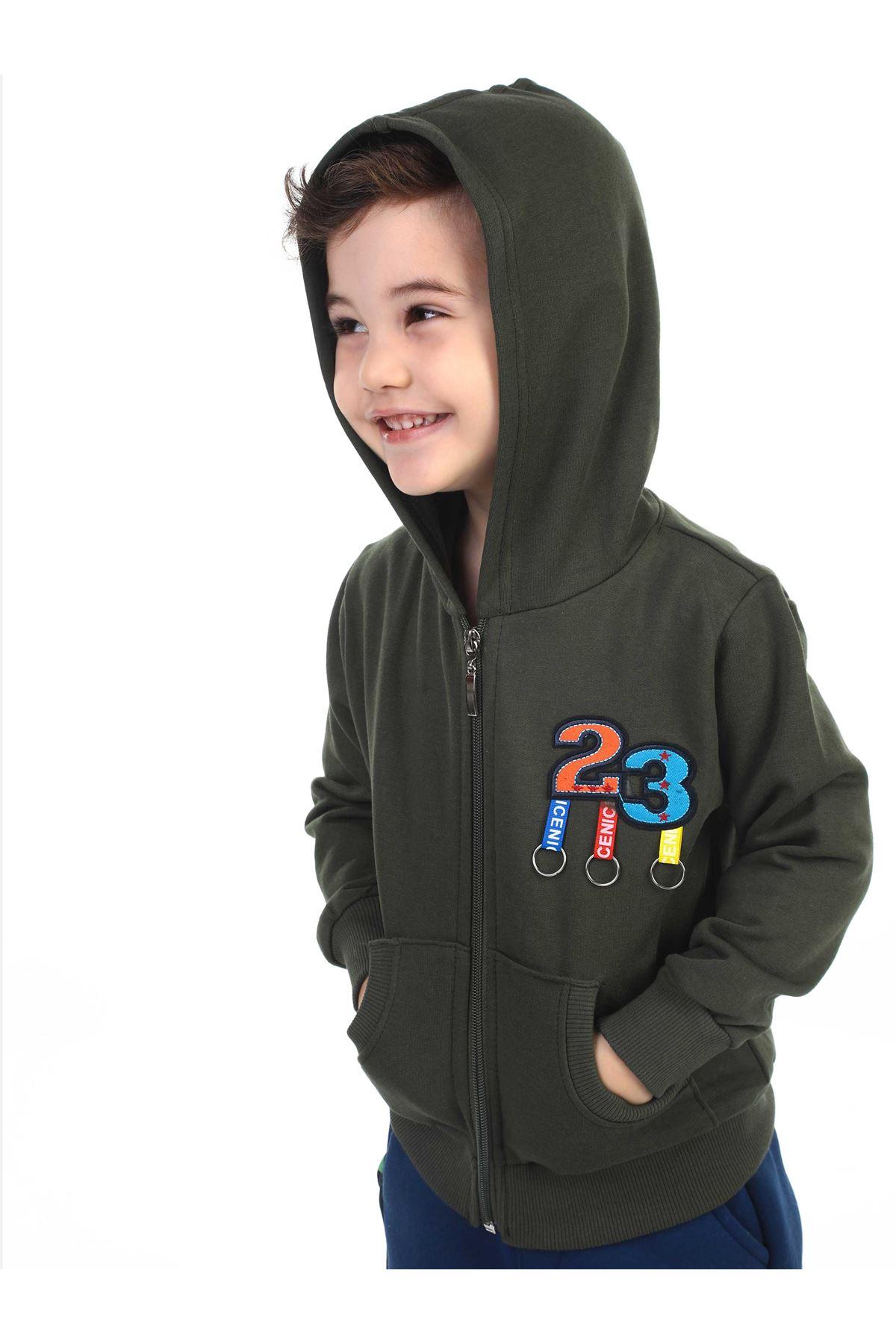Haki Mevsimlik Kapüşonlu Erkek Çocuk Ceket