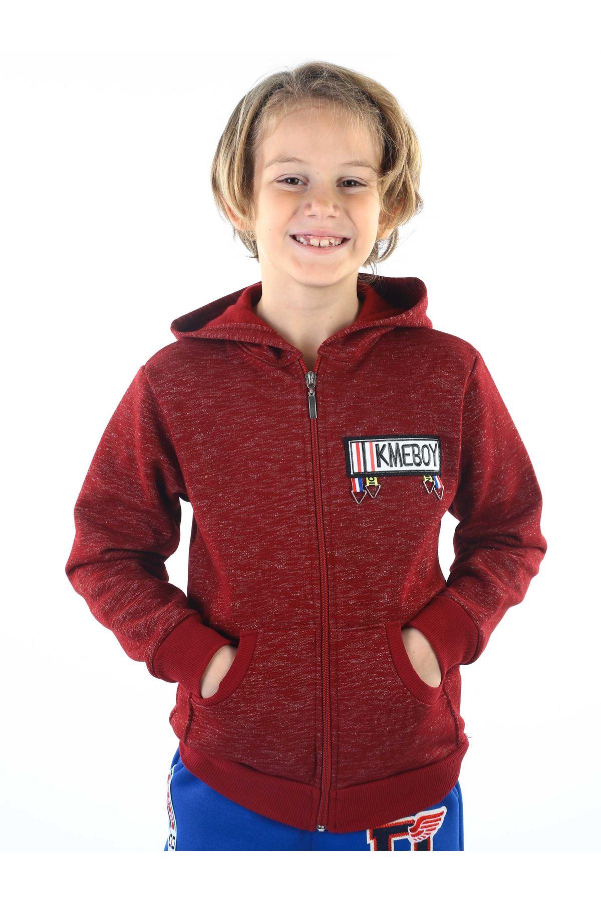 Bordo Kışlık Kapüşonlu Erkek Çocuk Ceket