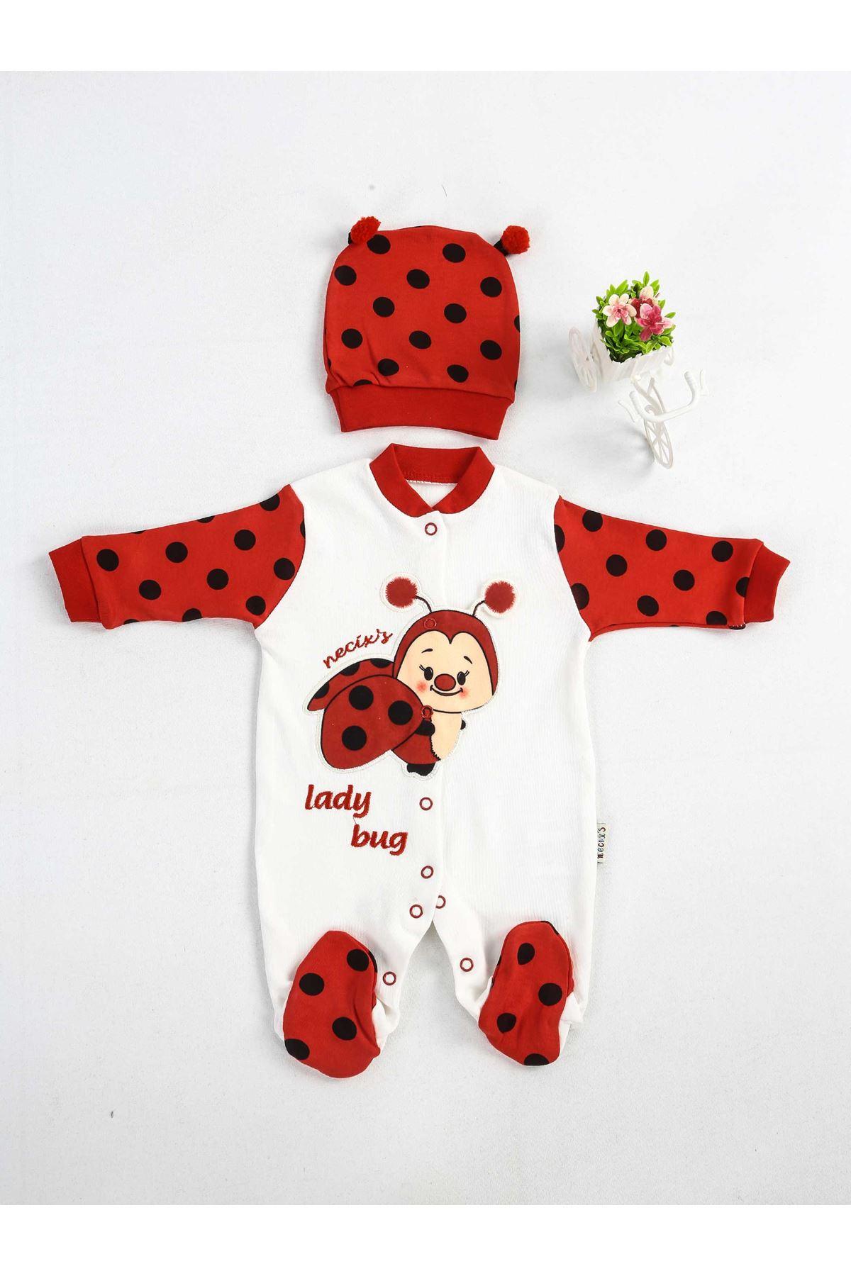 Kırmızı Beyaz Şapkalı Bebek Tulum