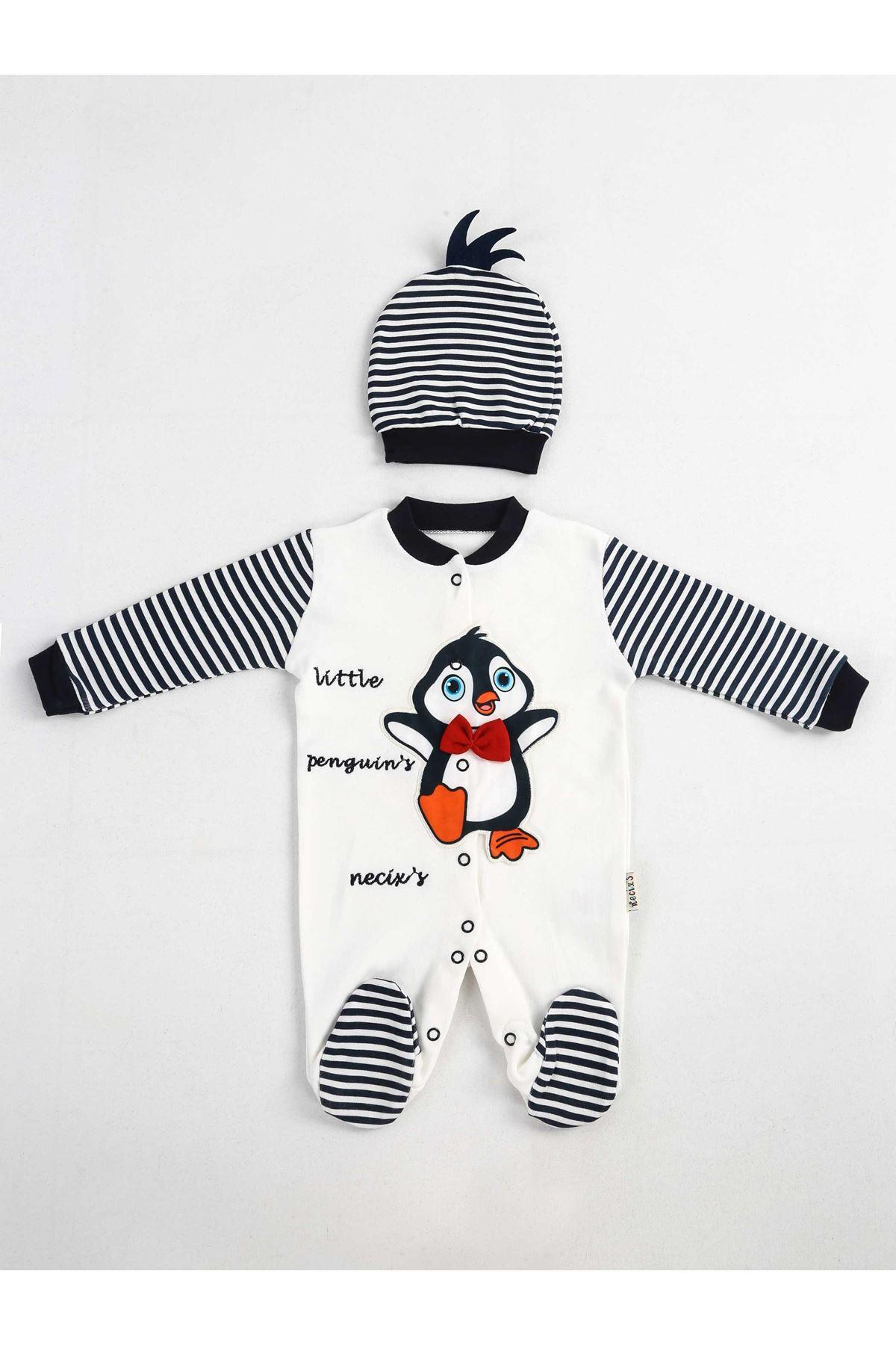Lacivert Beyaz Şapkalı Bebek Tulum