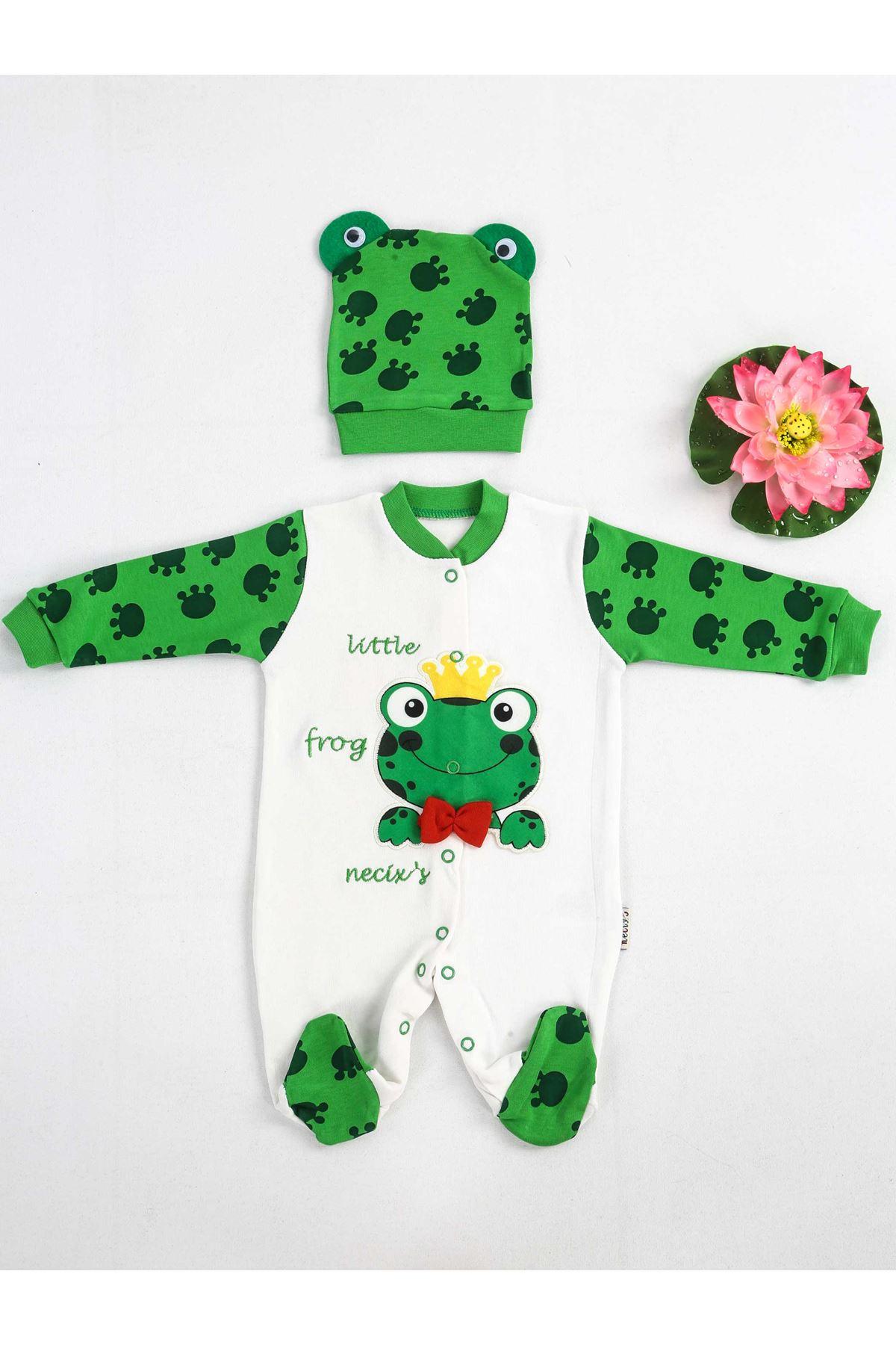 Yeşil Beyaz Şapkalı Bebek Tulum