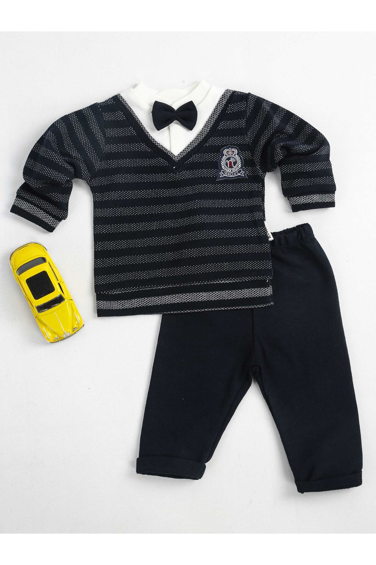 Navy blue baby bottom top 2 bow tie baby boy suit cute kids models