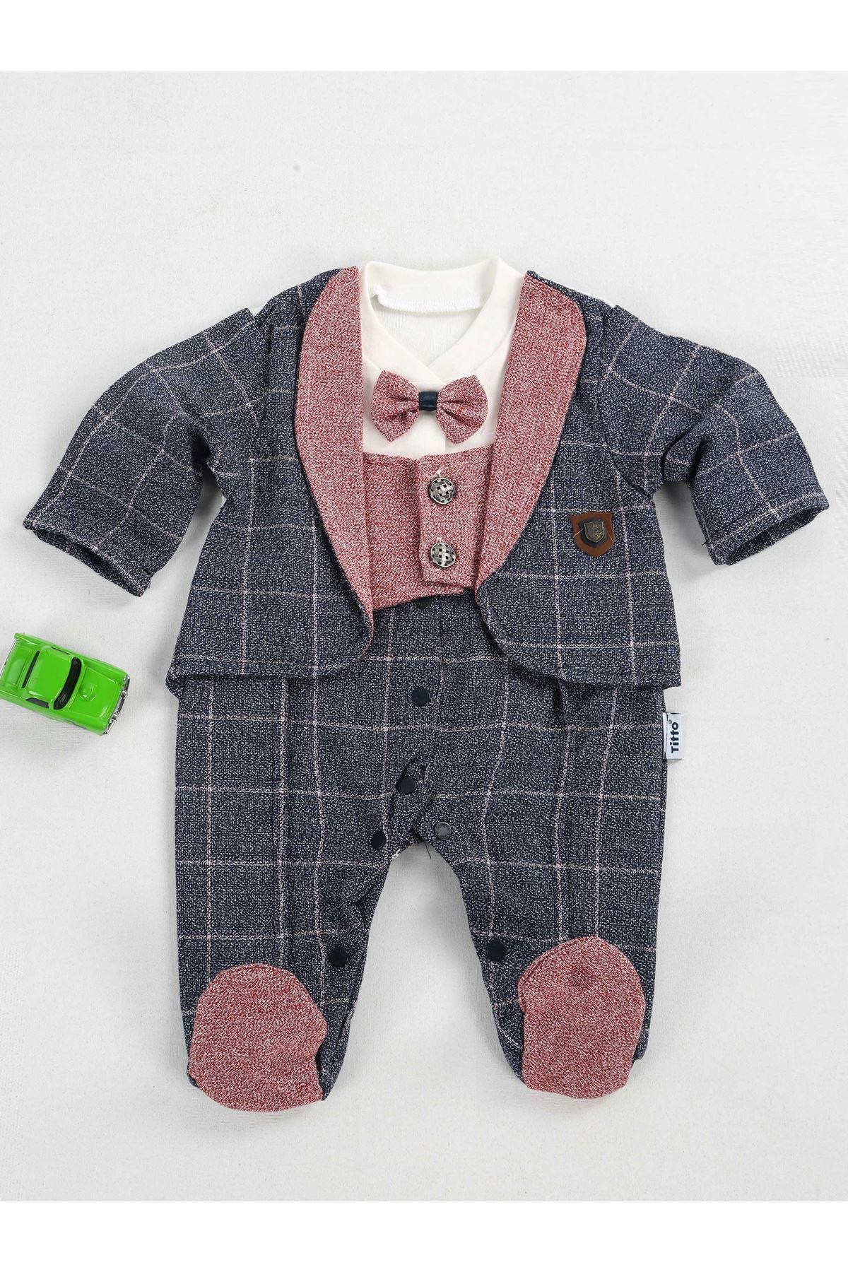 Bordo Lacivert Papyonlu Erkek Bebek Tulum
