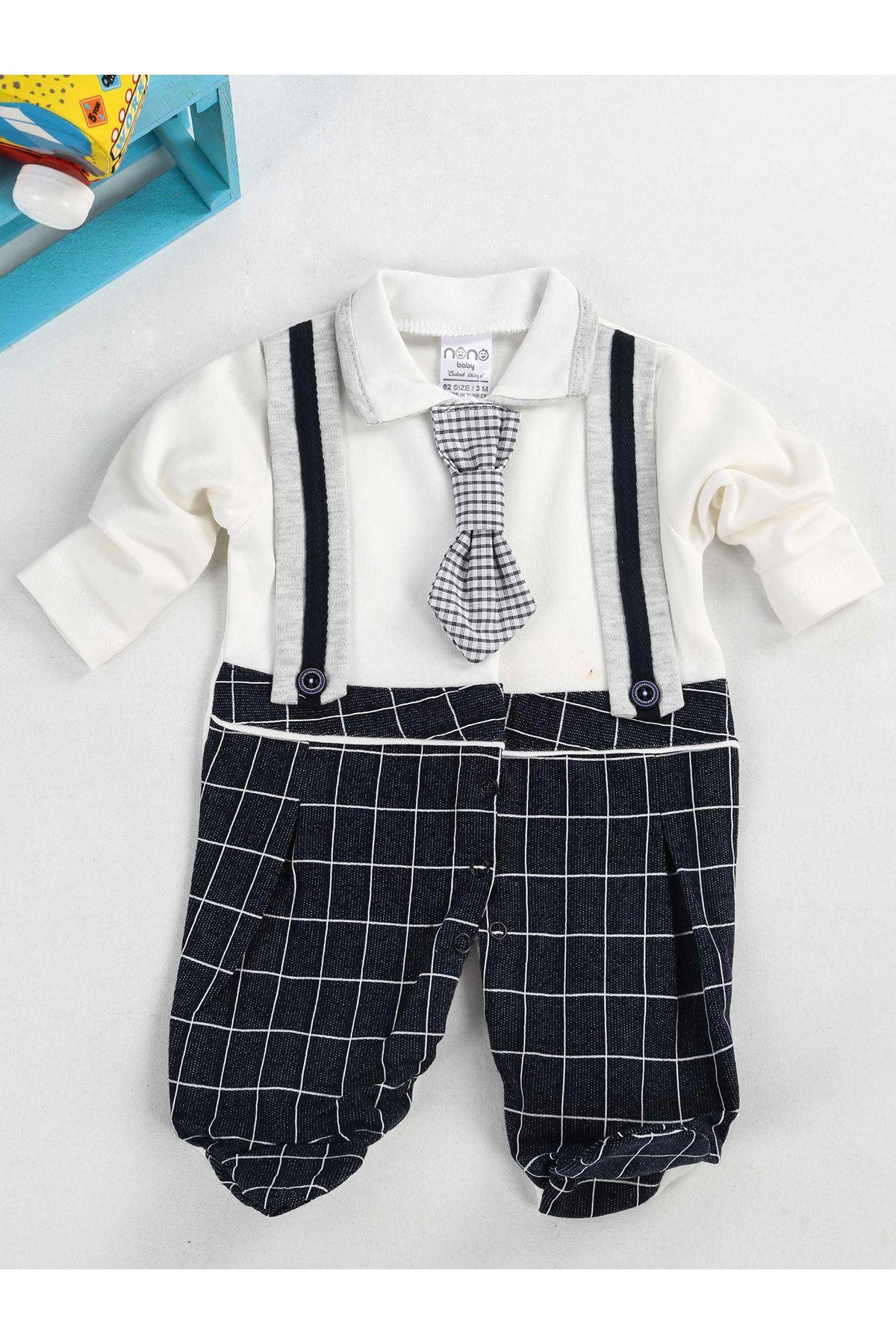 Beyaz Lacivert Kravatlı Erkek Bebek Tulum
