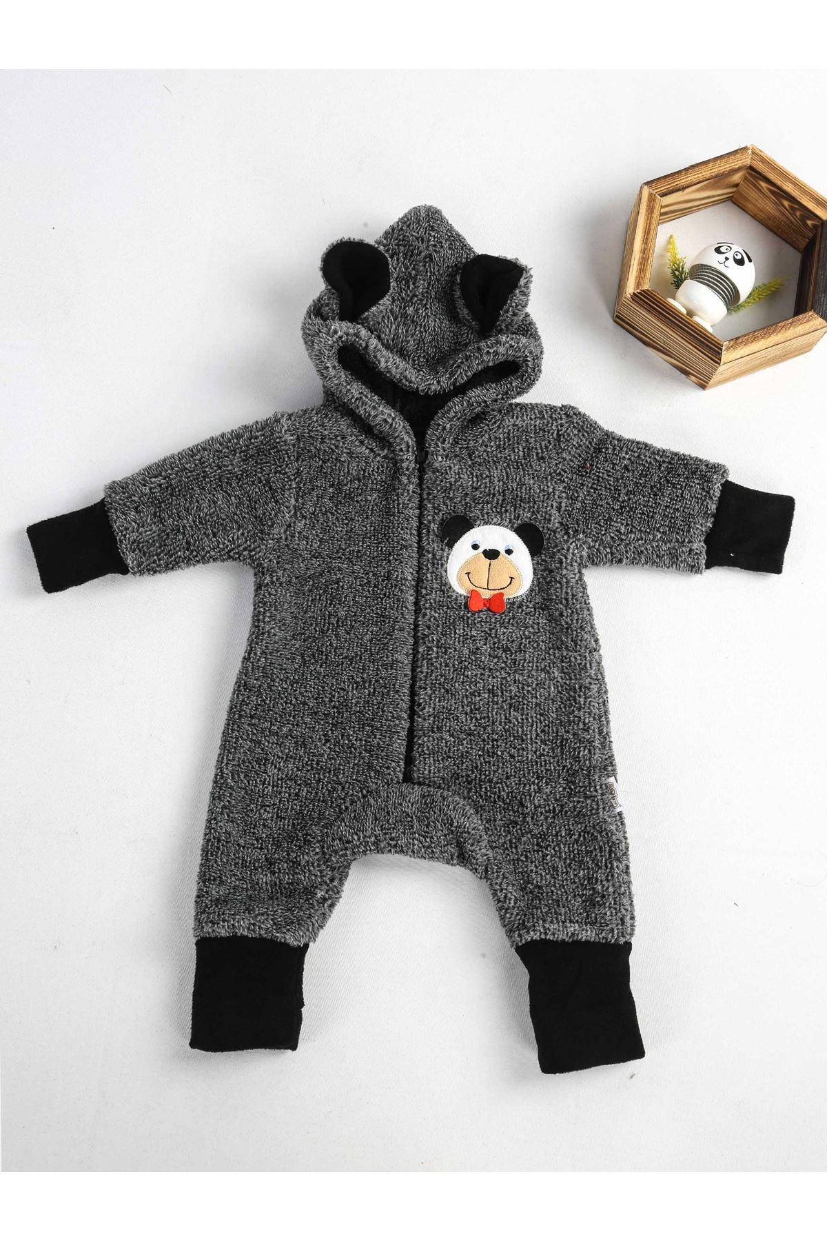 Gri Polar Kışlık Erkek Bebek Tulum